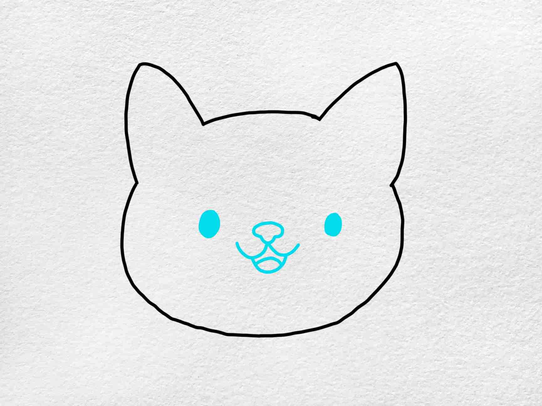 Easy Cat Face Drawing: Step 3