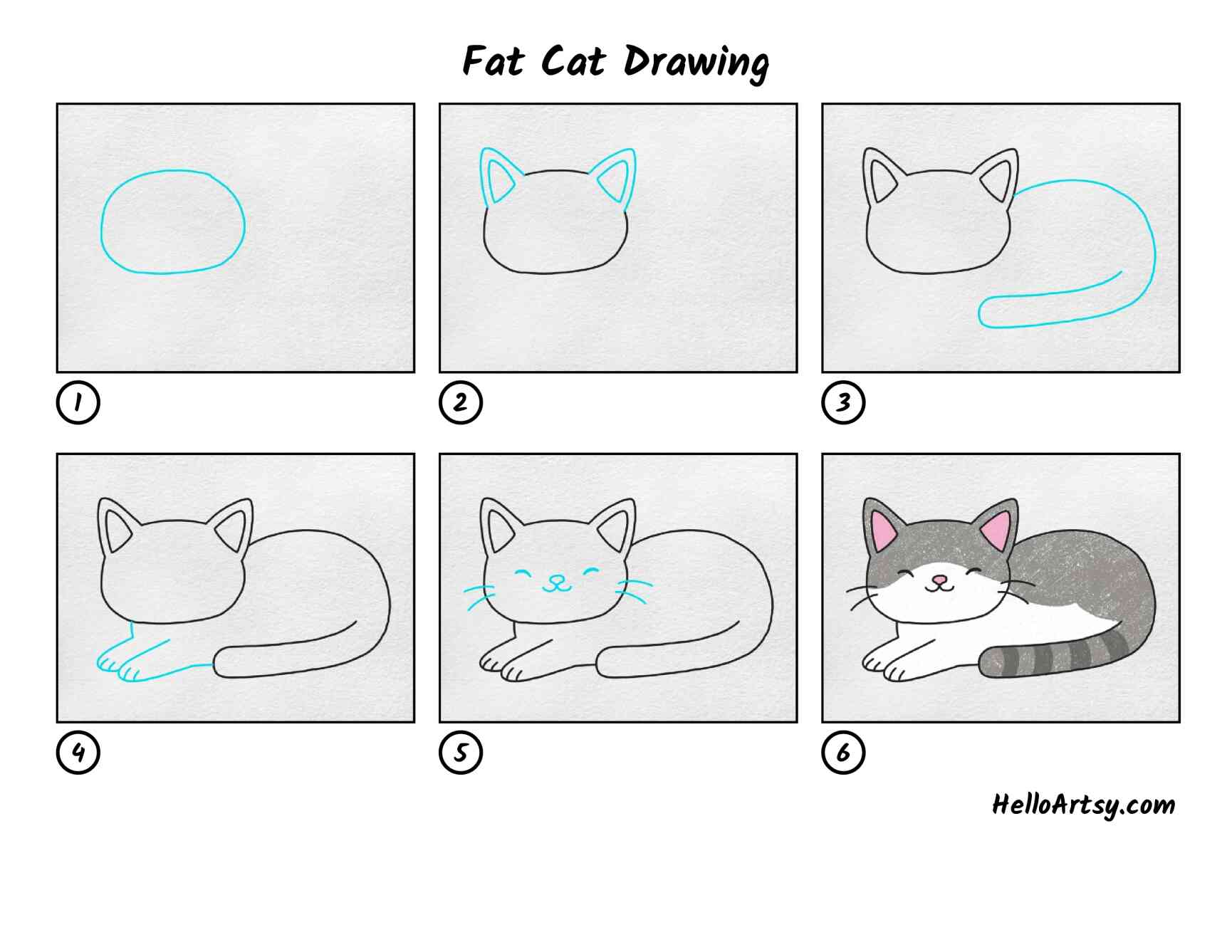 Fat Cat Drawing: All Steps