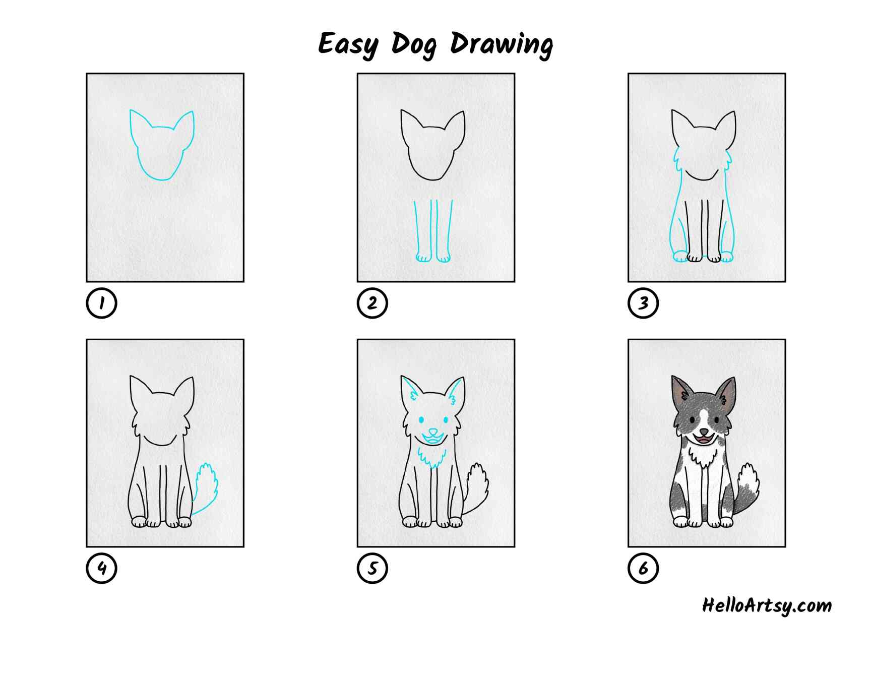 Easy Dog To Draw: All Steps