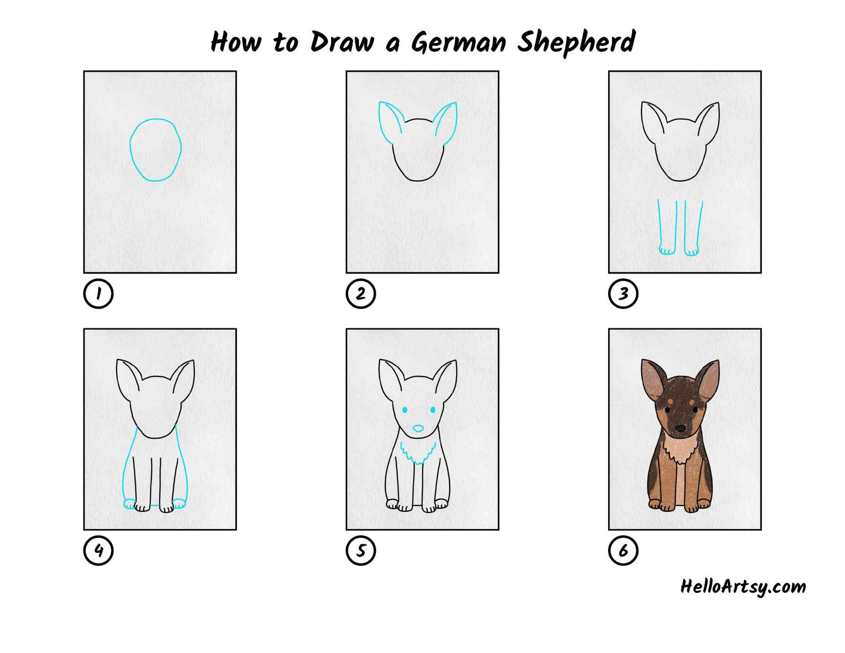 How To Draw A German Shepherd: All Steps