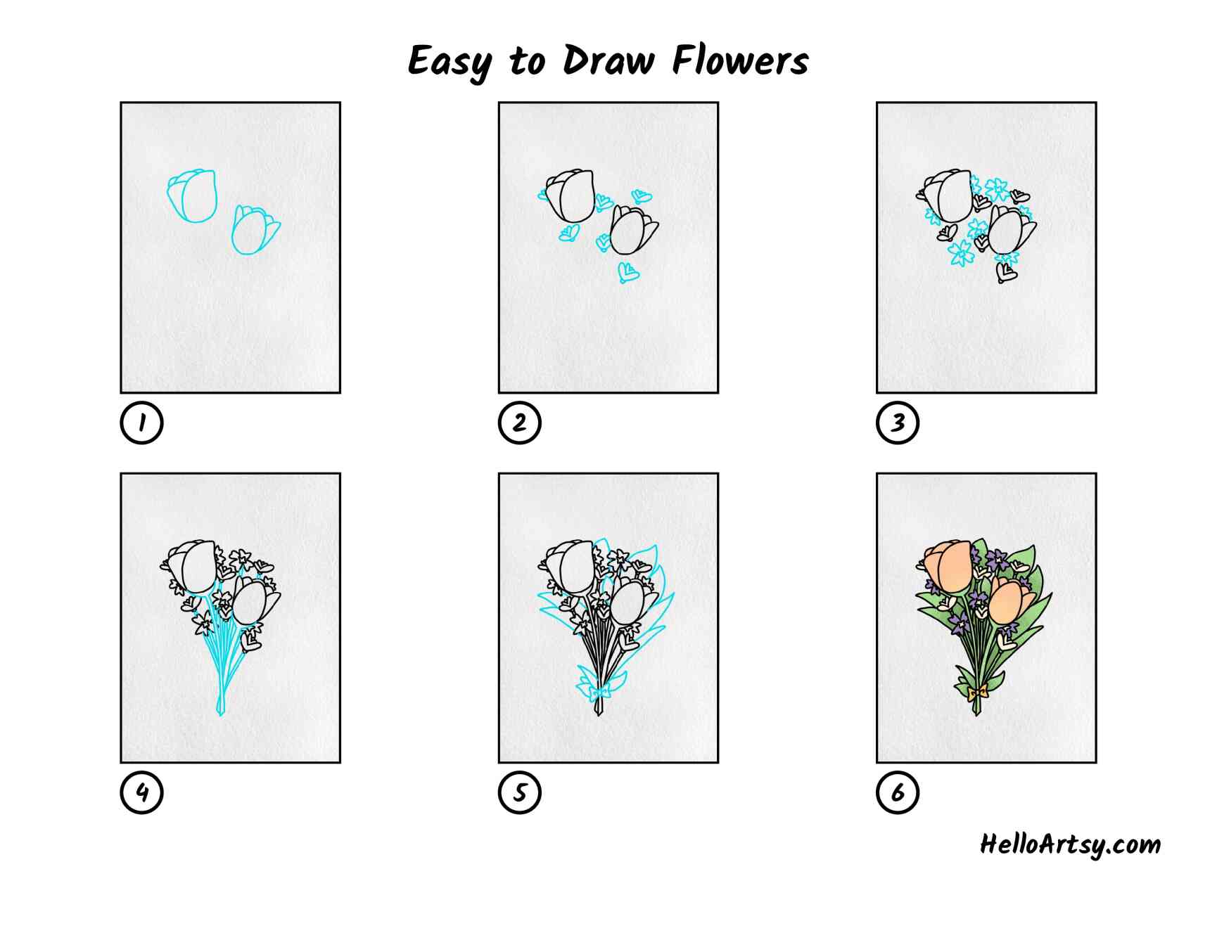 Easy To Draw Flowers: All Steps