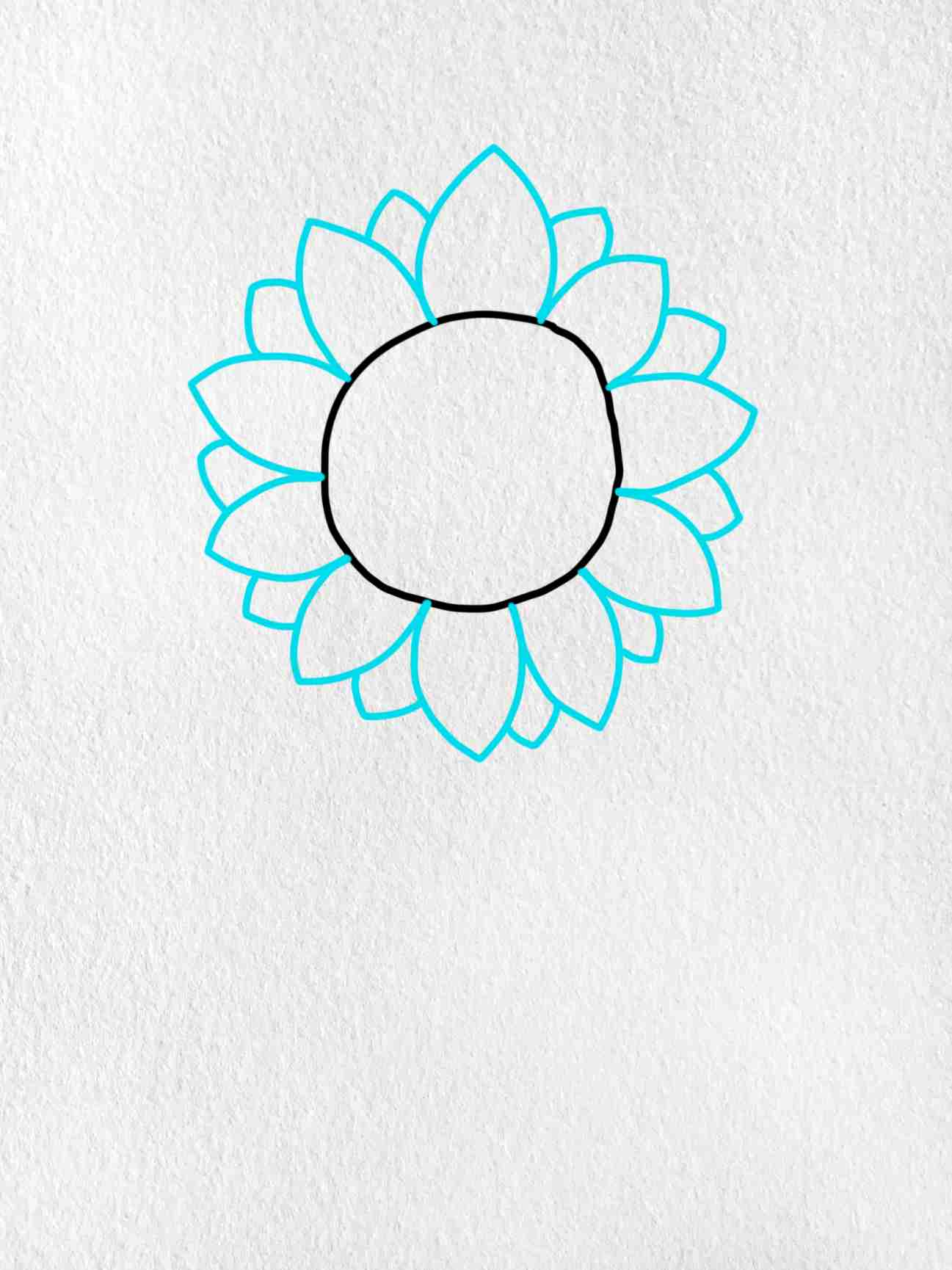How To Draw Sunflowers: Step 2