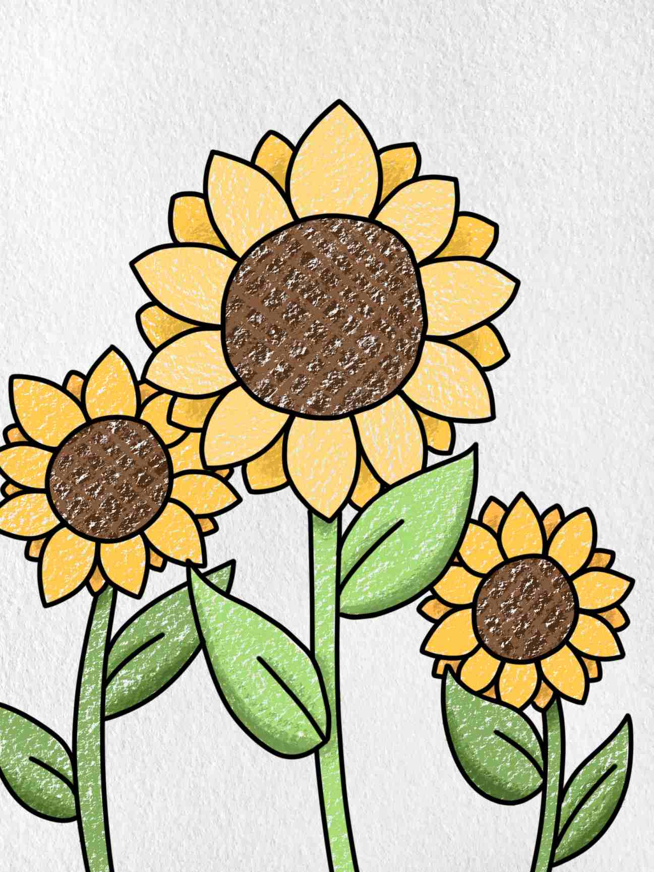 How To Draw Sunflowers: Step 6