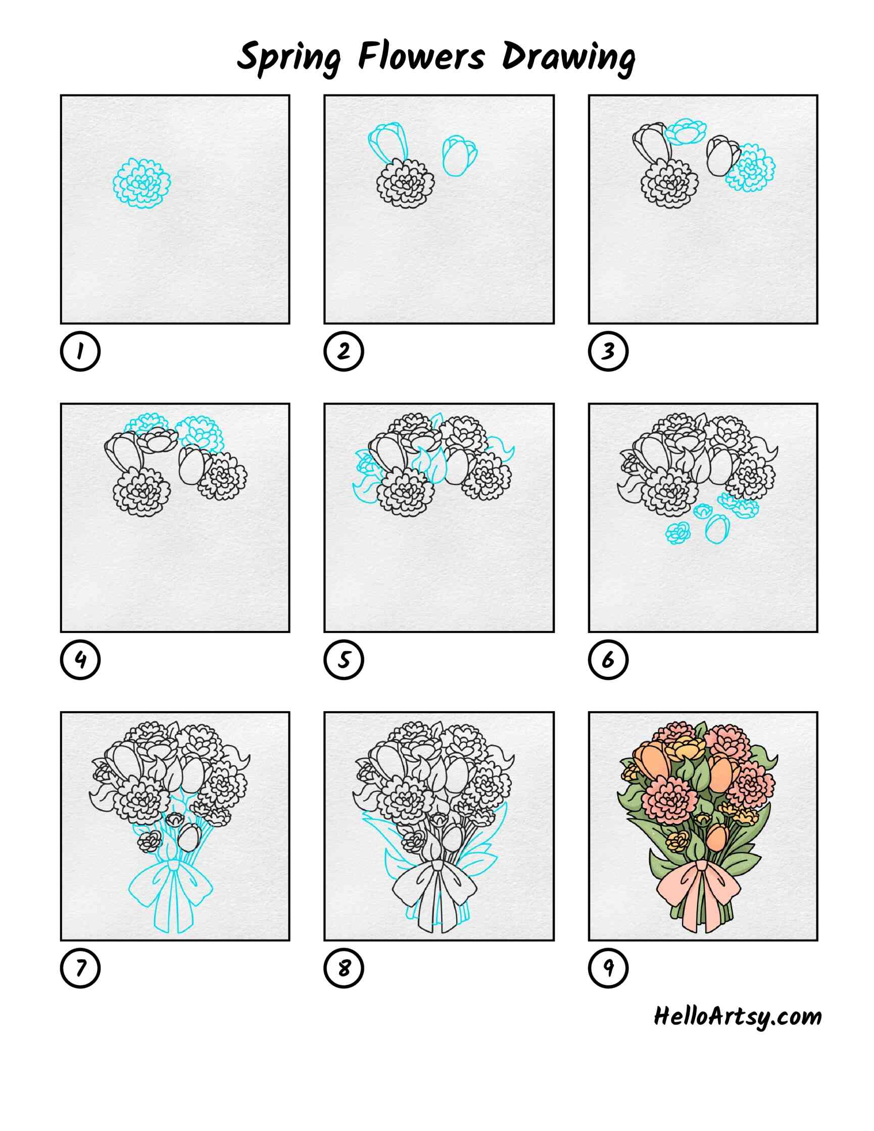 Spring Flowers Drawing: All Steps