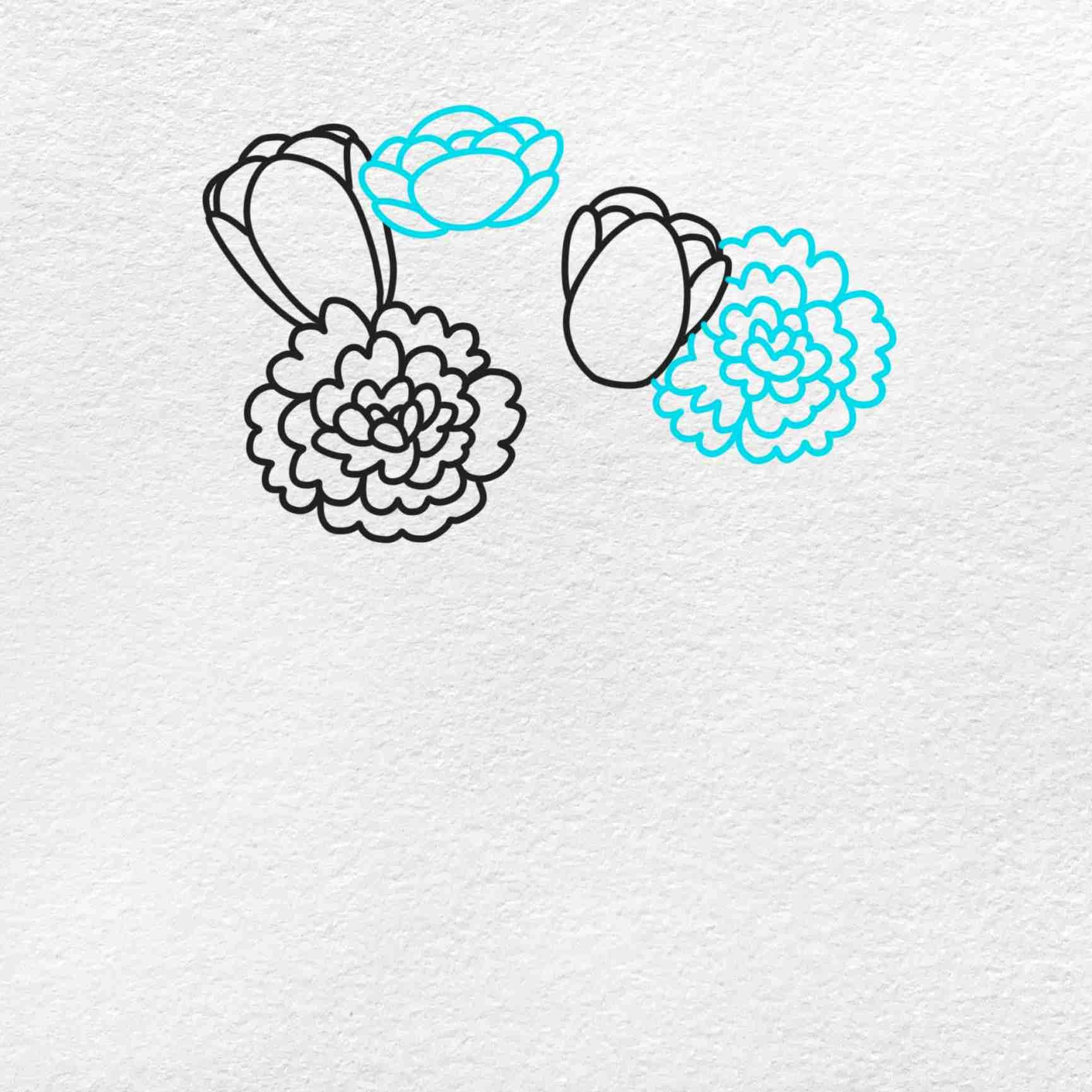 Spring Flowers Drawing: Step 3