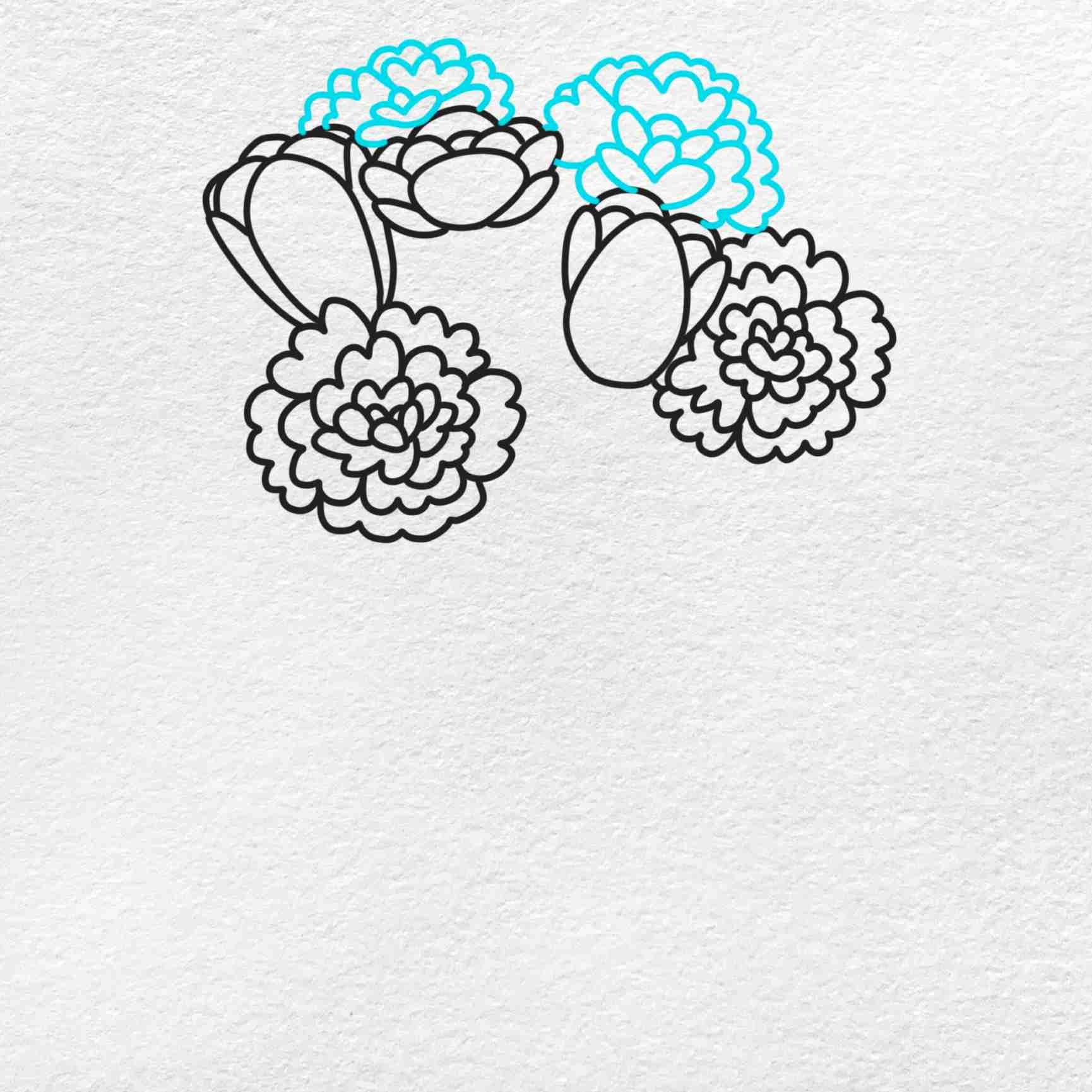 Spring Flowers Drawing: Step 4