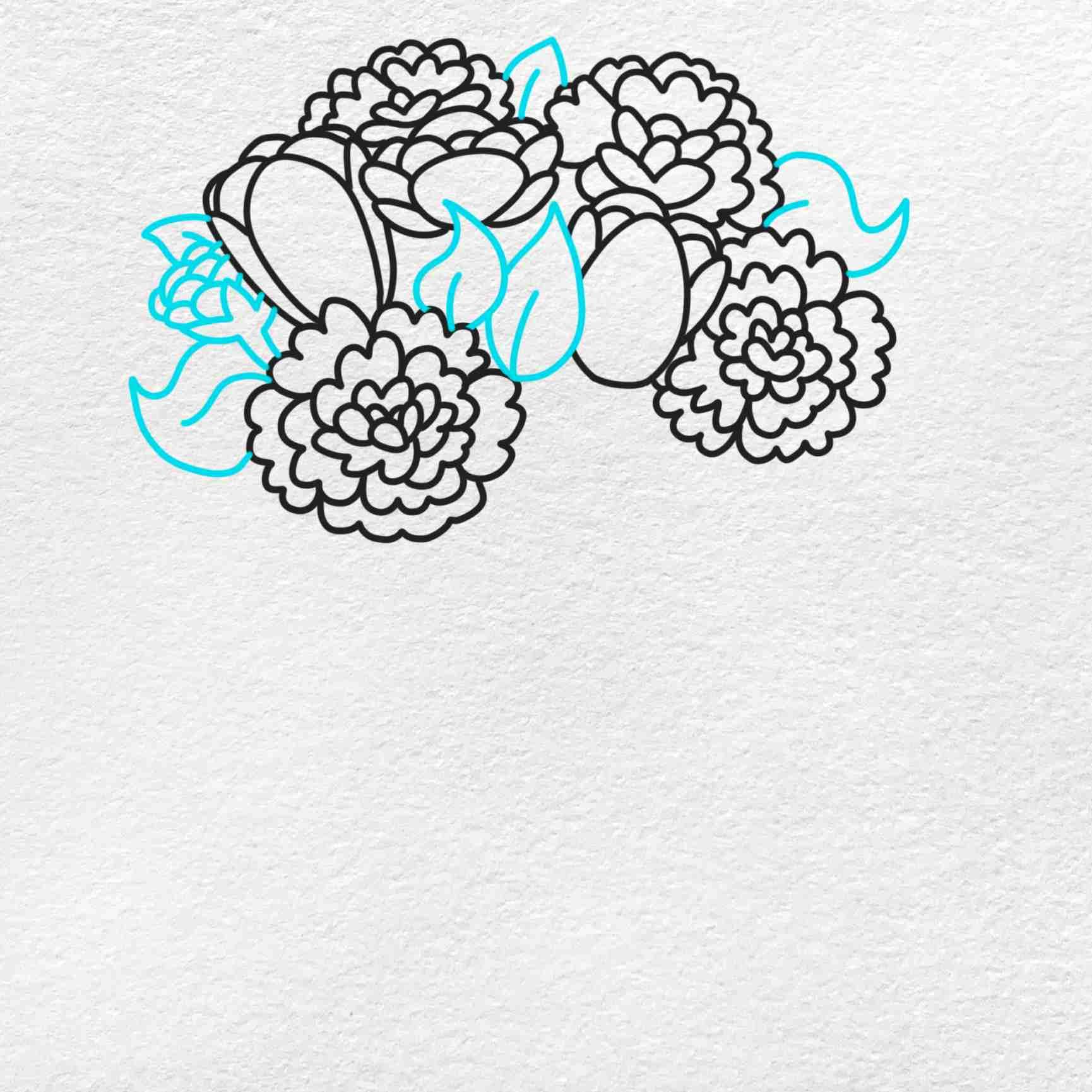 Spring Flowers Drawing: Step 5