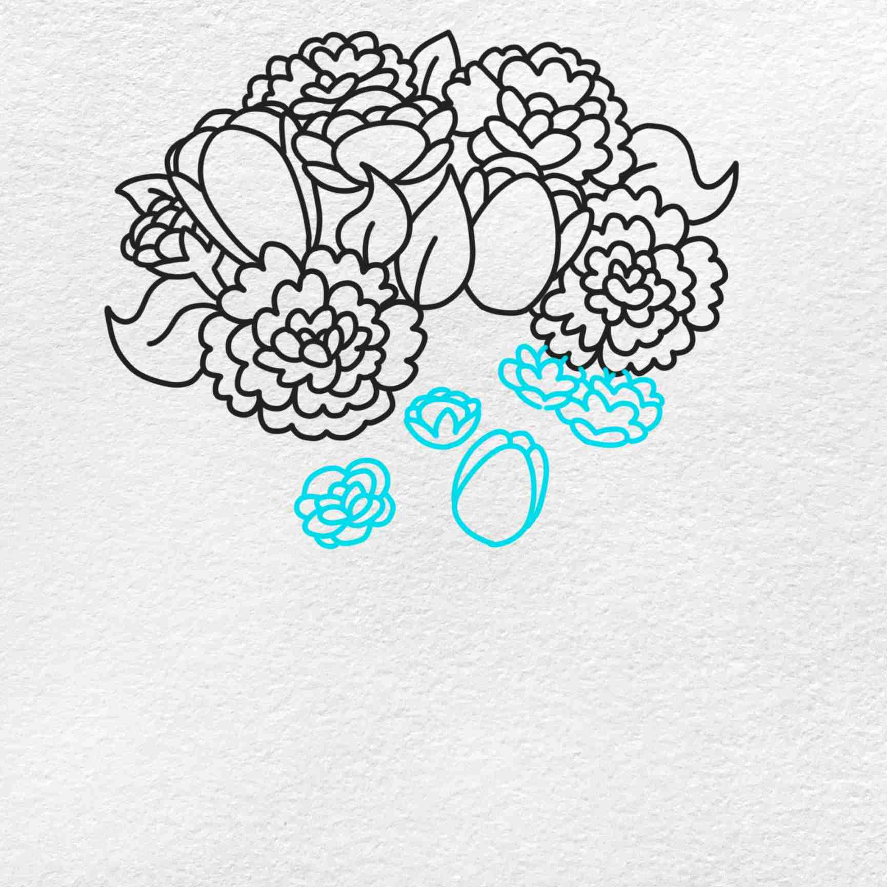 Spring Flowers Drawing: Step 6