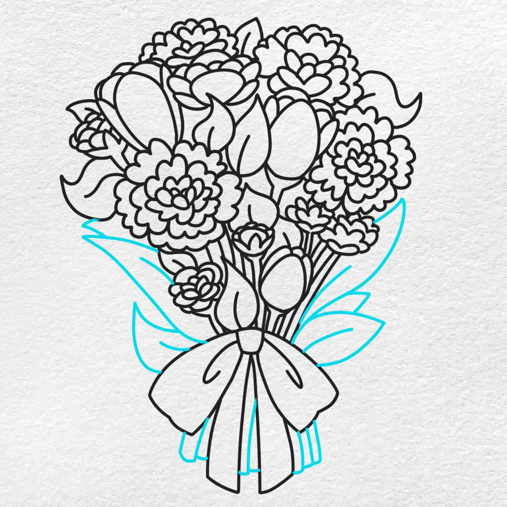 Spring Flowers Drawing: Step 8