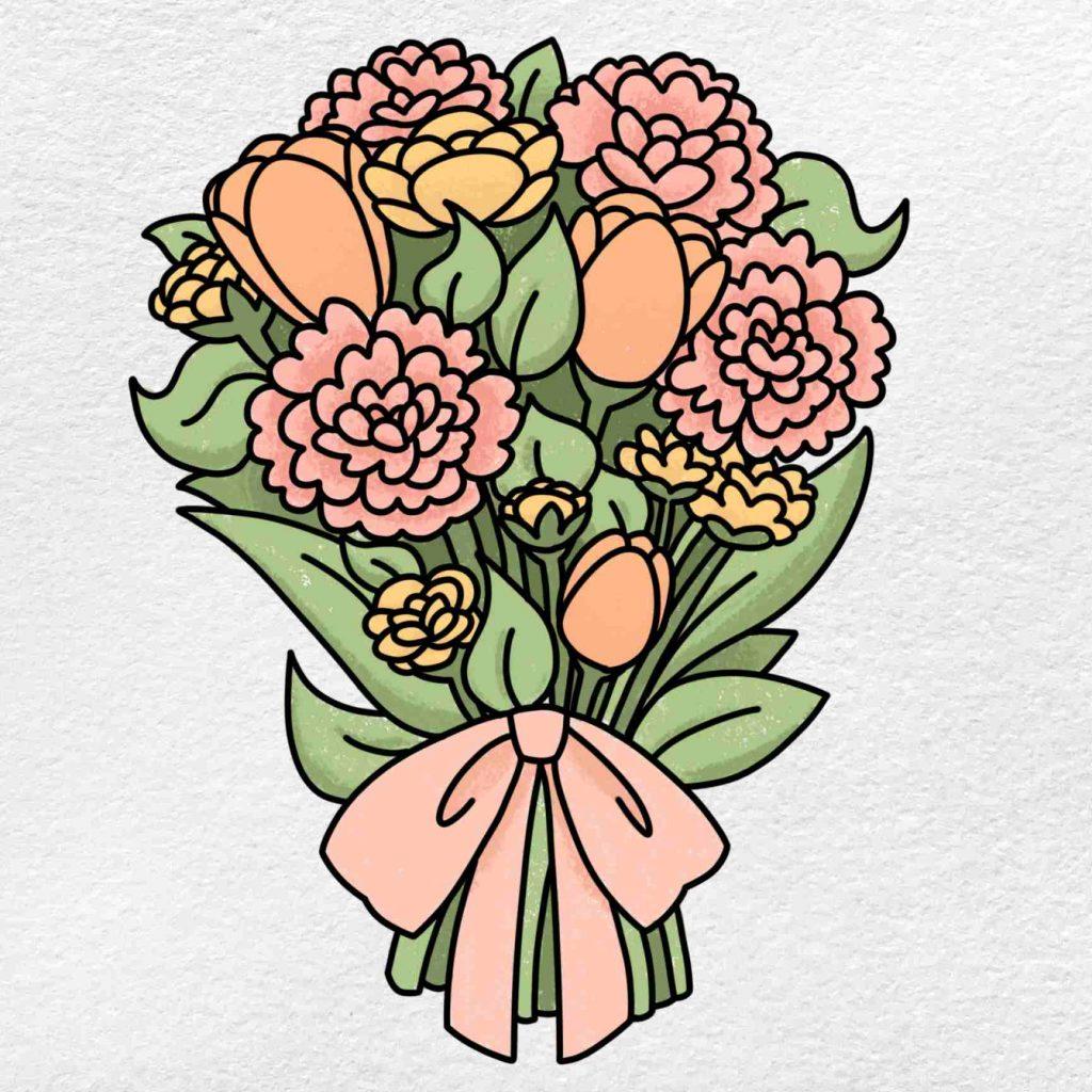 Spring Flowers Drawing: Step 9
