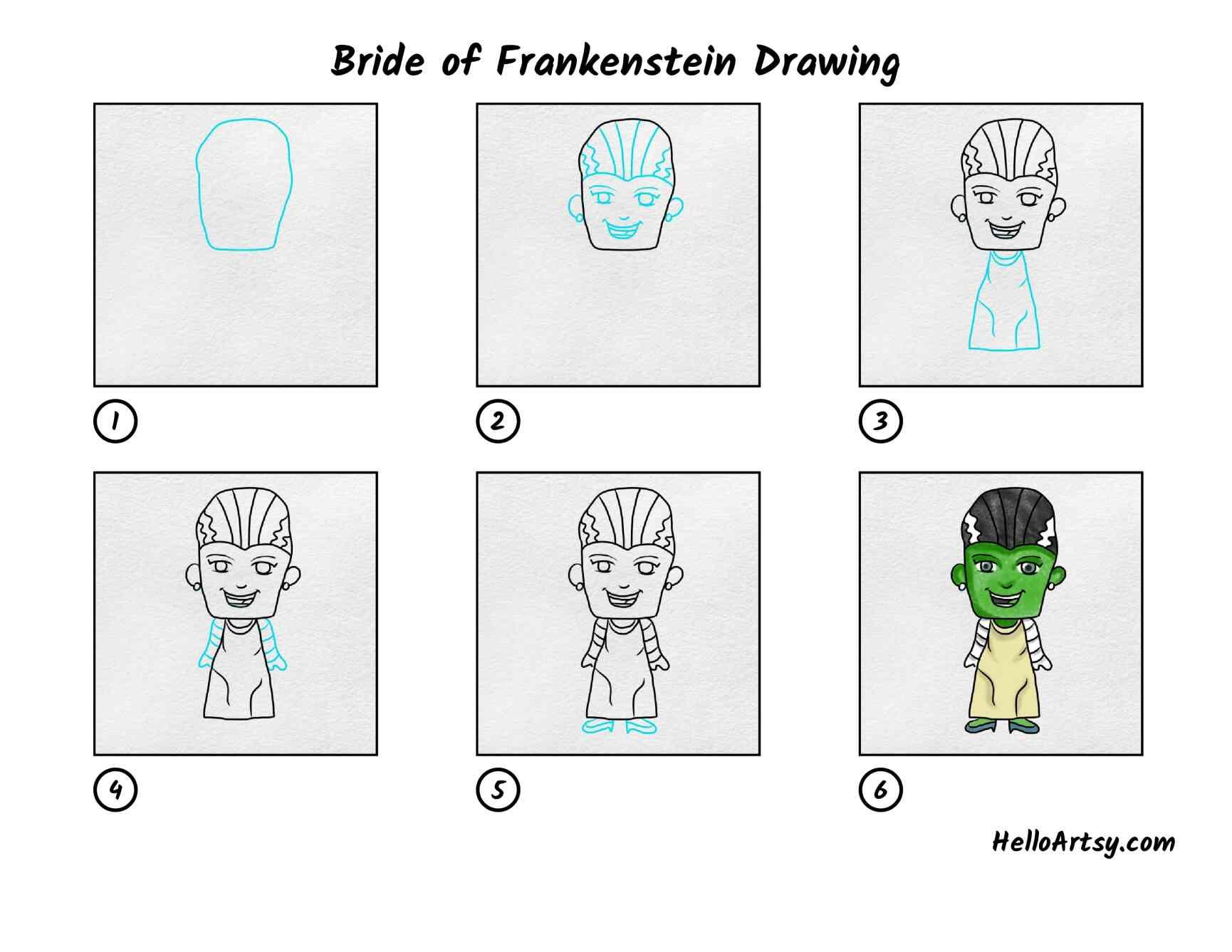 Bride Of Frankenstein Drawing: All Steps