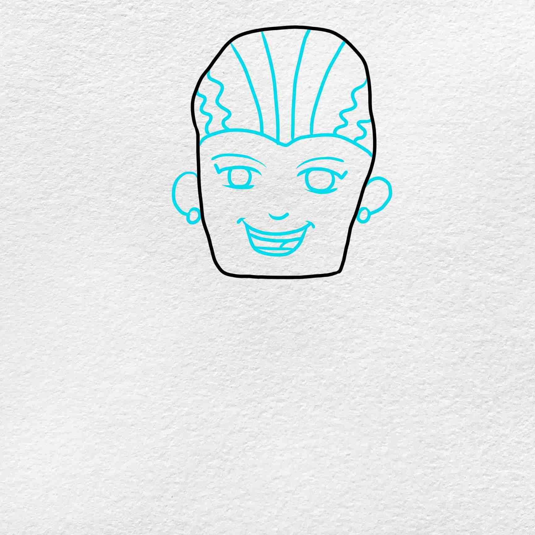 Bride Of Frankenstein Drawing: Step 2