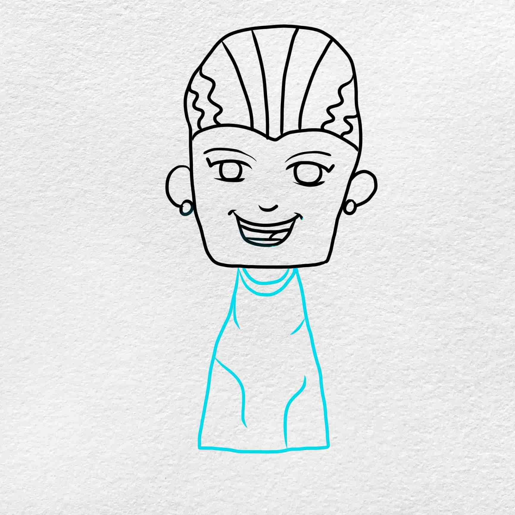Bride Of Frankenstein Drawing: Step 3