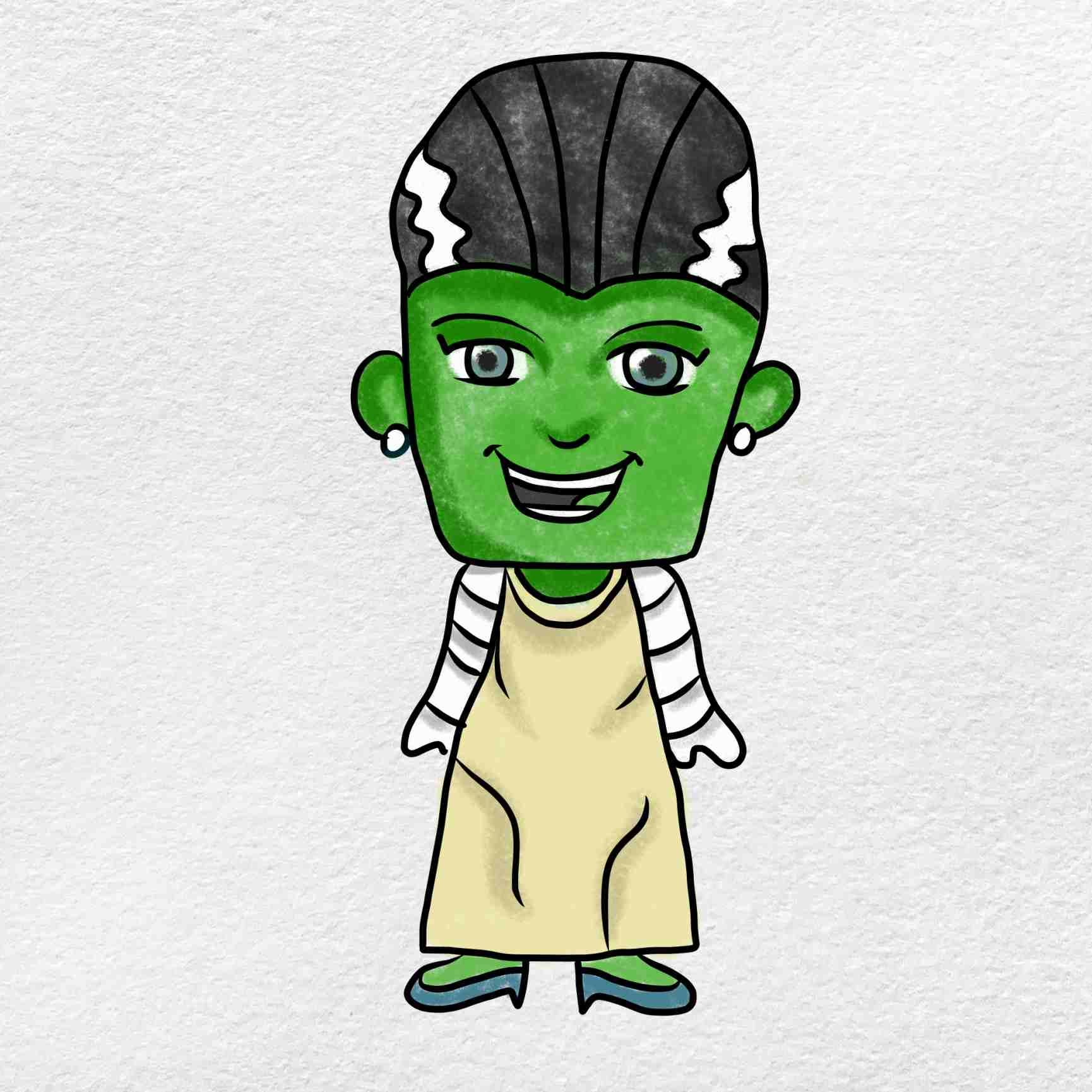 Bride Of Frankenstein Drawing: Step 6