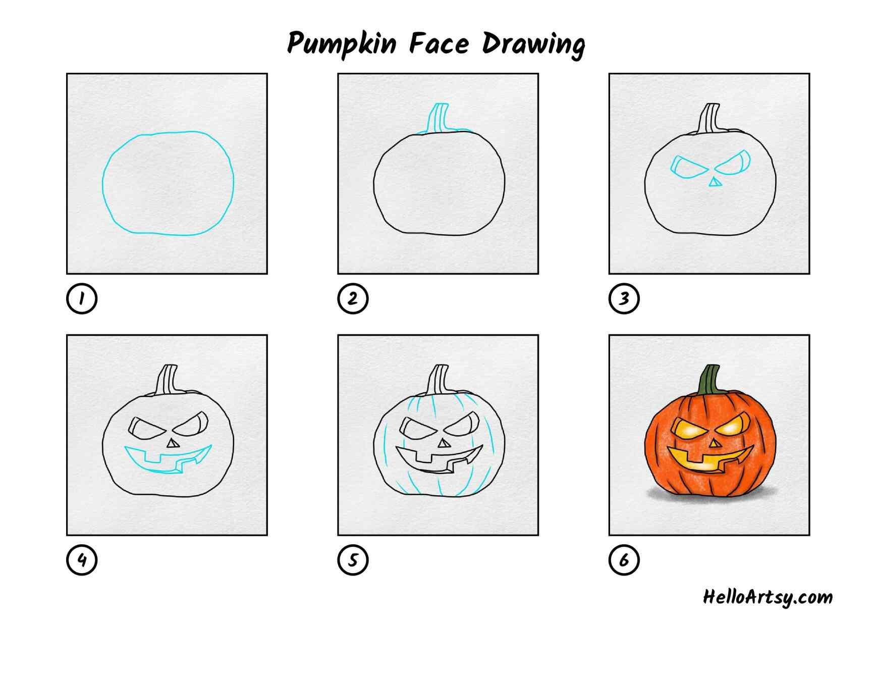 Draw A Pumpkin Face: All Steps