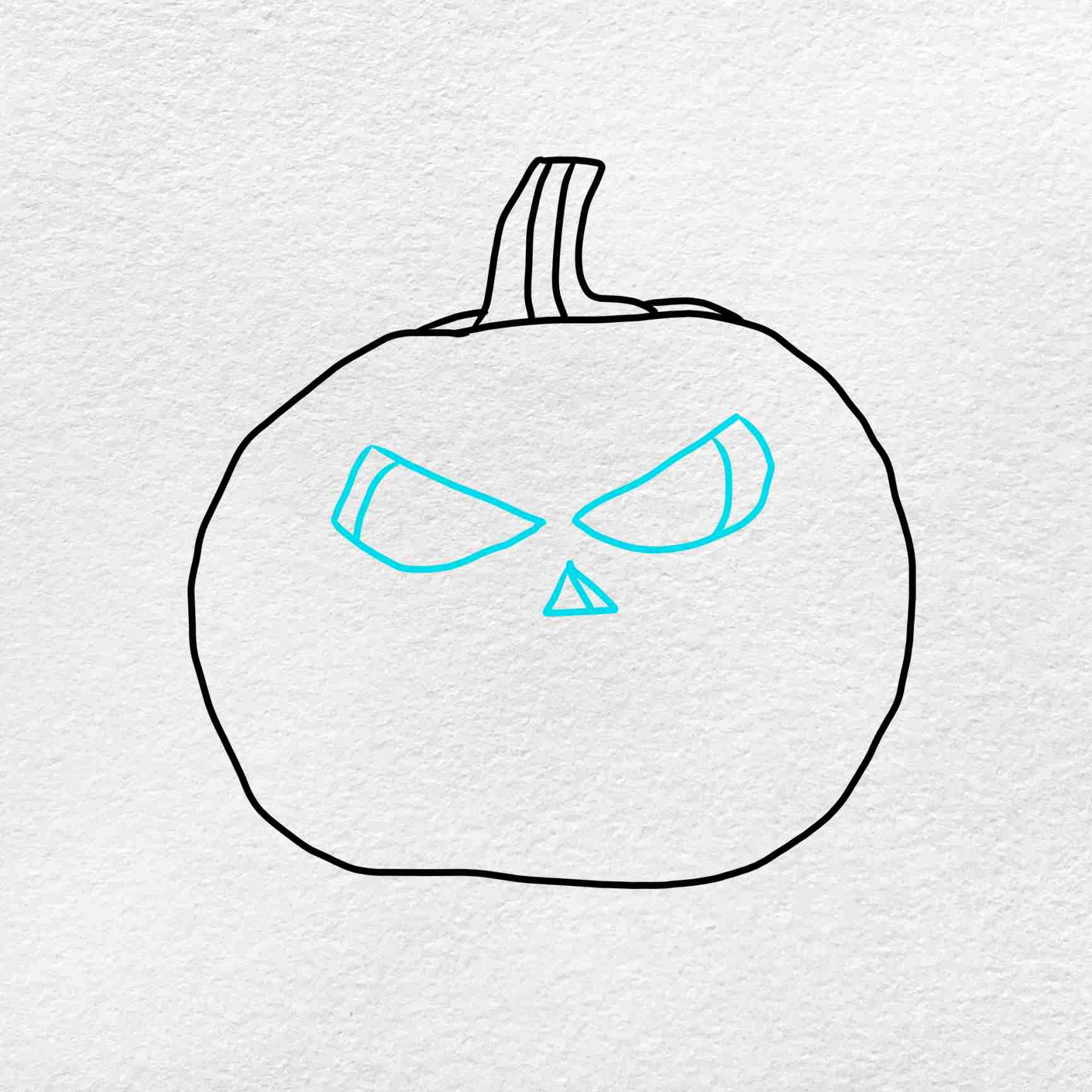 Draw A Pumpkin Face: Step 3