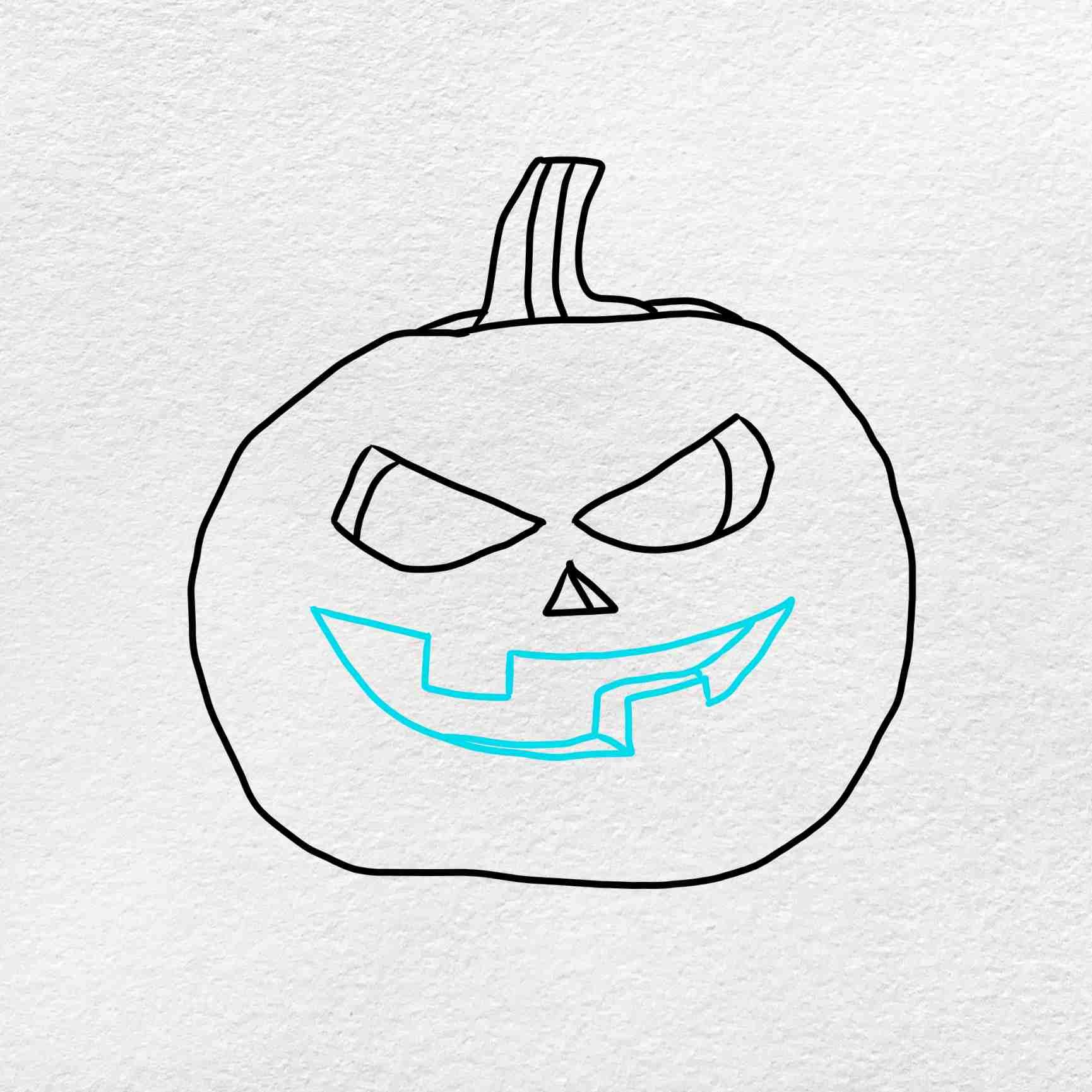 Draw A Pumpkin Face: Step 4