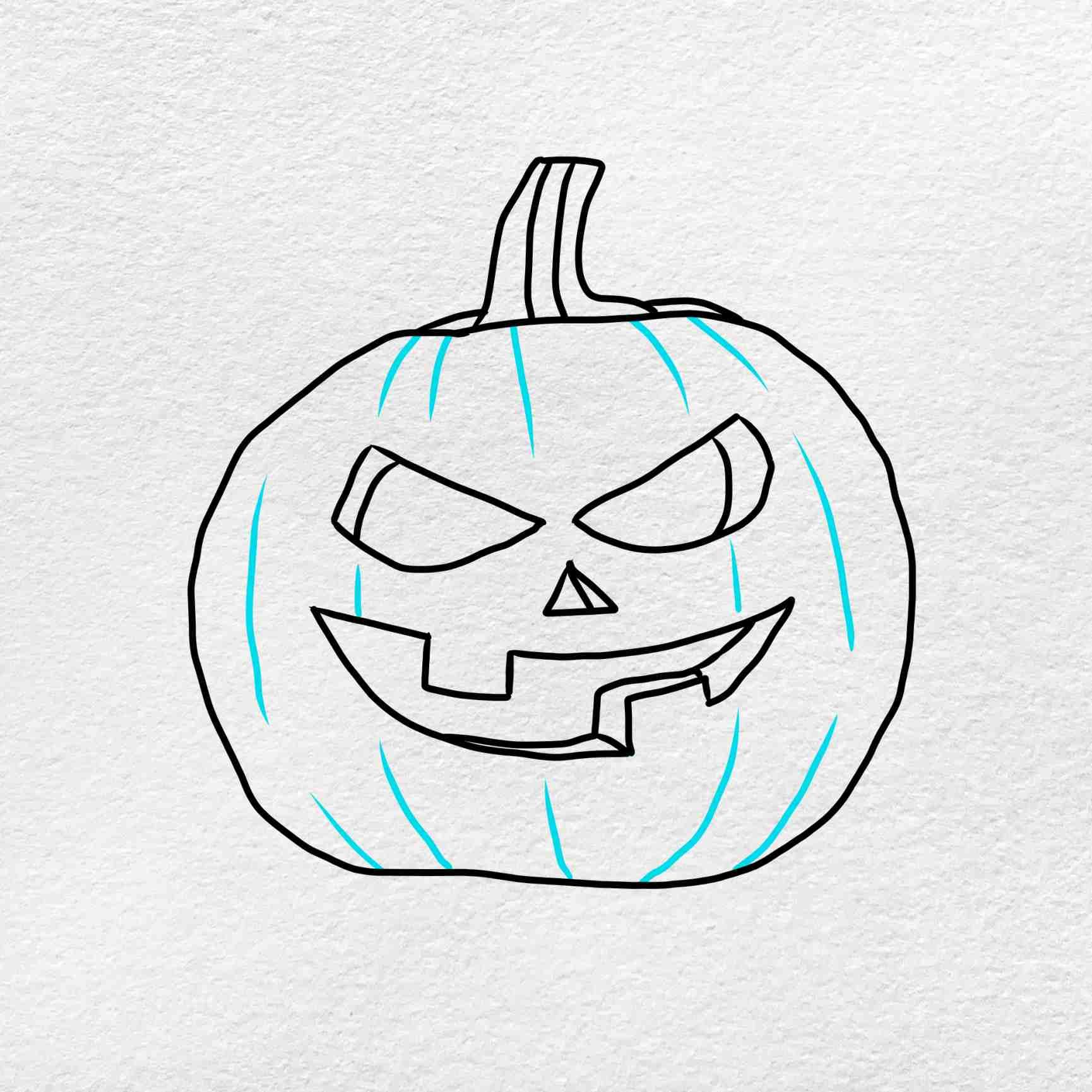 Draw A Pumpkin Face: Step 5