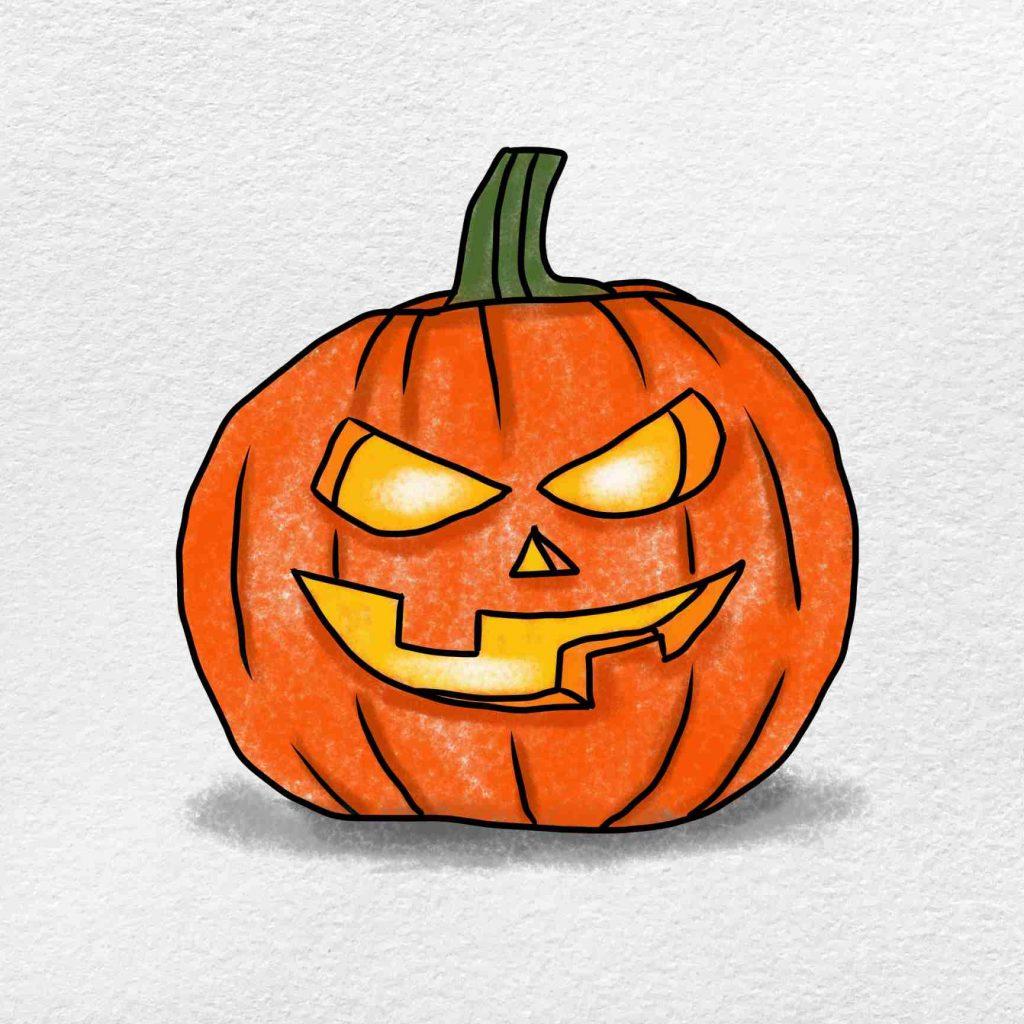 Draw A Pumpkin Face: Step 6