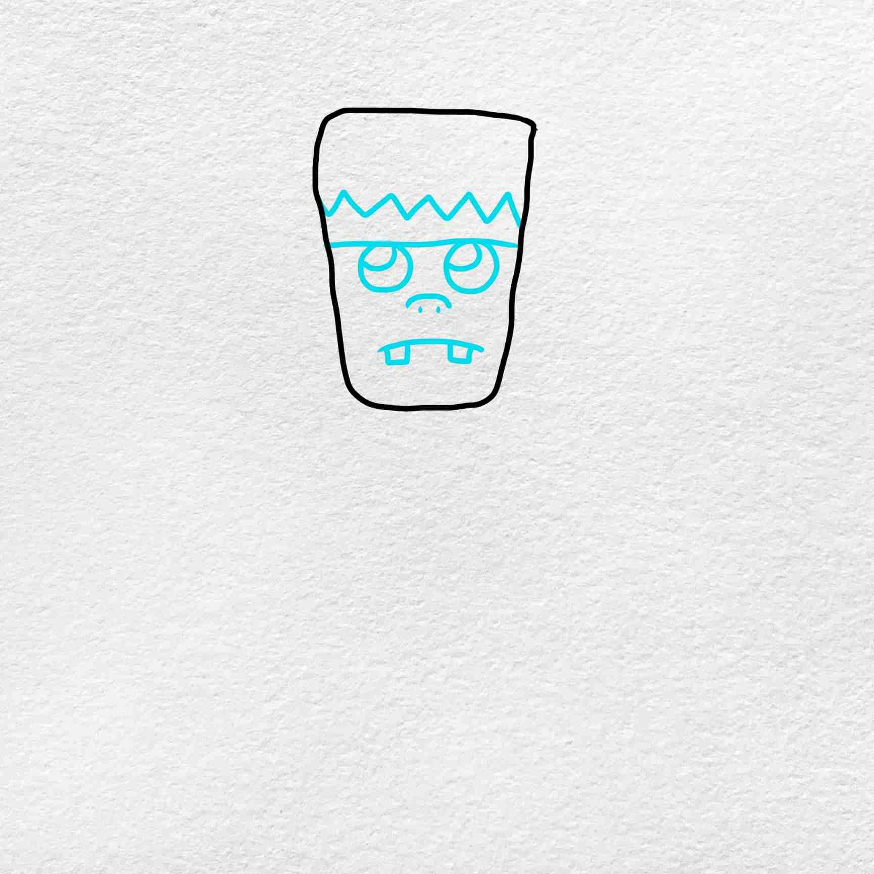 Easy Frankenstein Drawing: Step 2