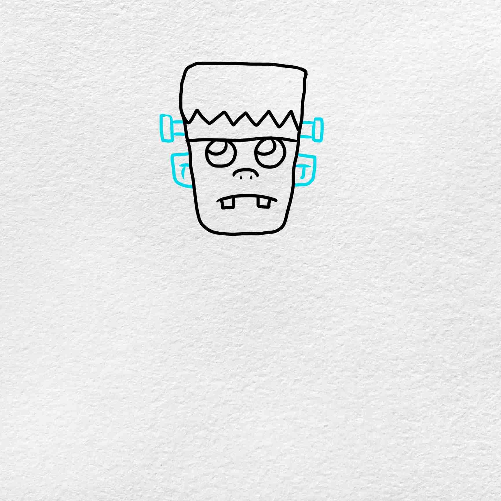 Easy Frankenstein Drawing: Step 3