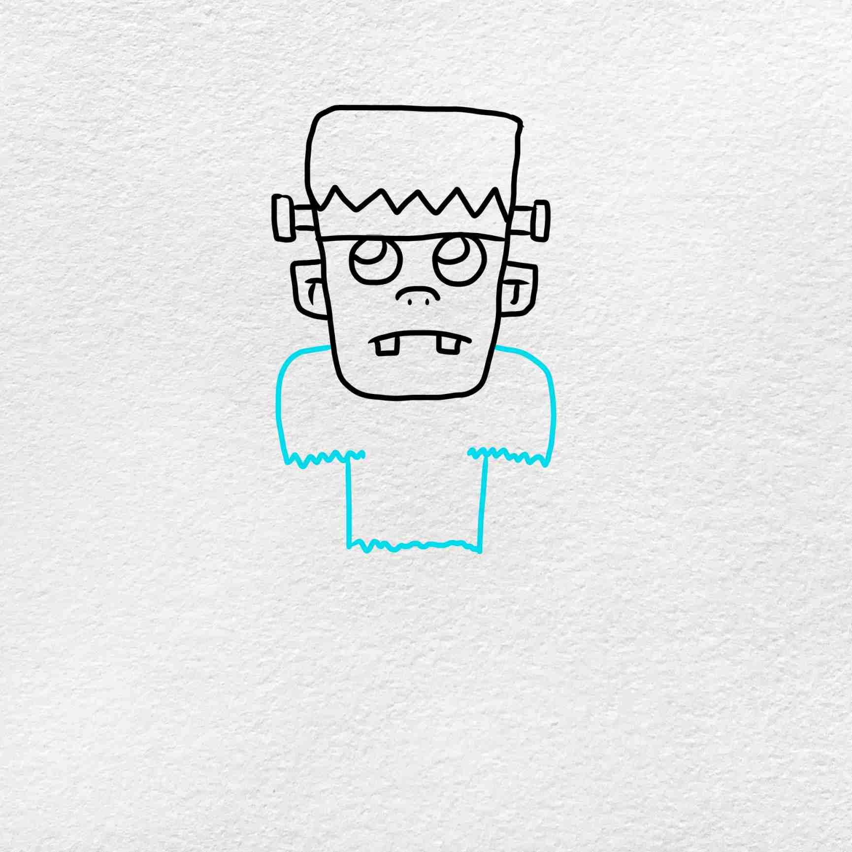 Easy Frankenstein Drawing: Step 4