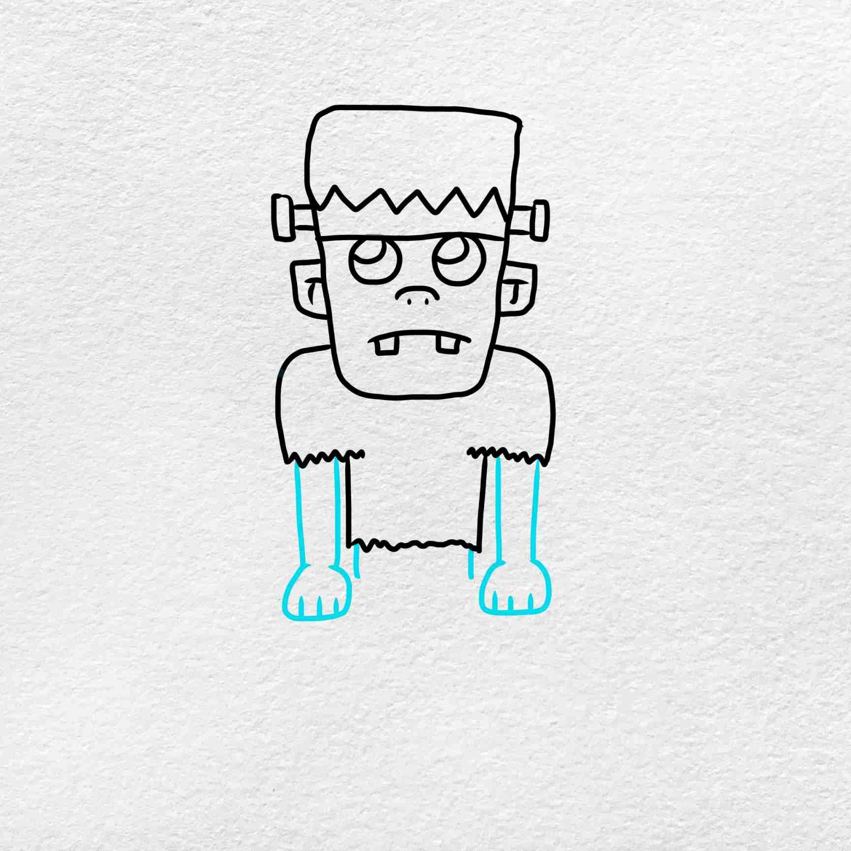 Easy Frankenstein Drawing: Step 5