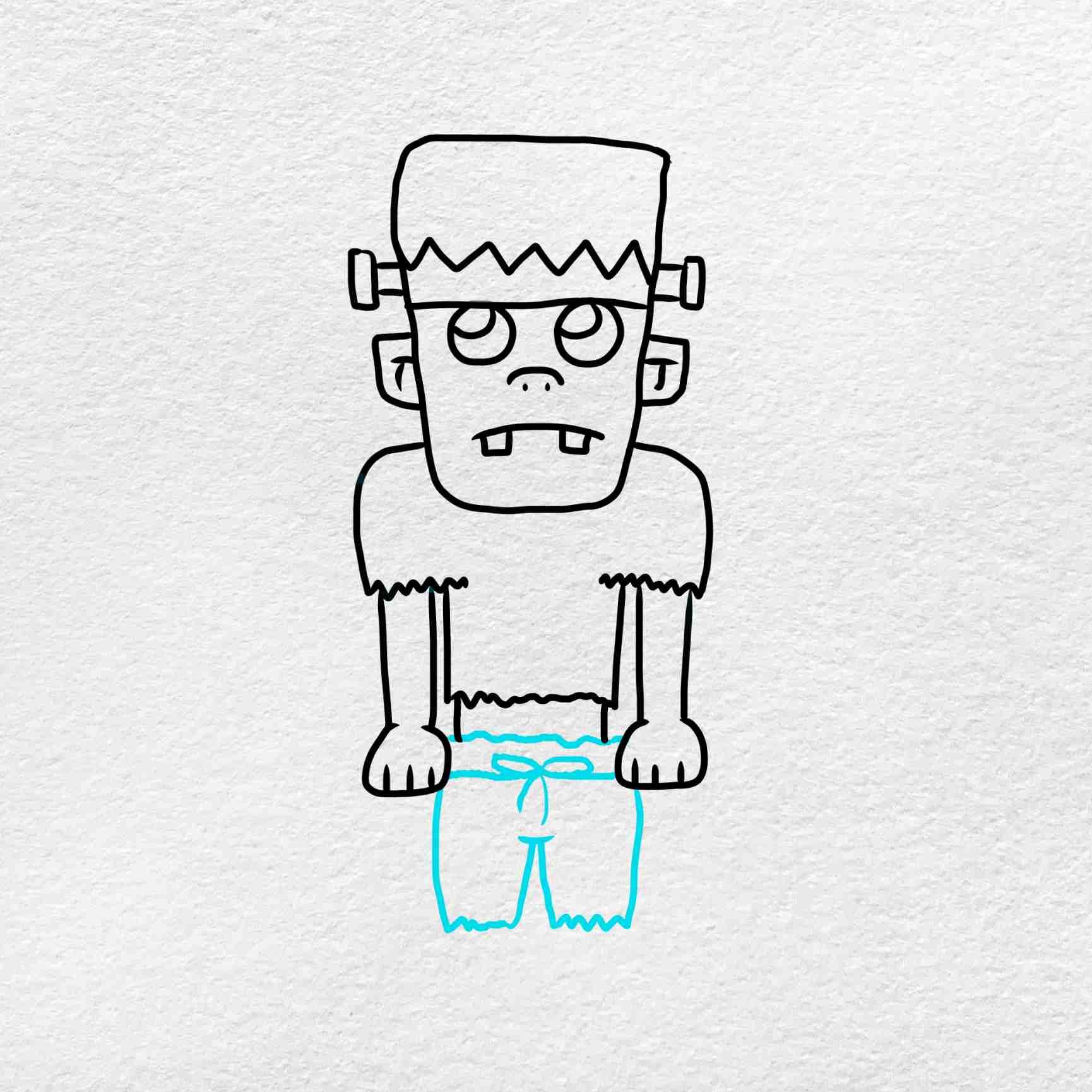 Easy Frankenstein Drawing: Step 6
