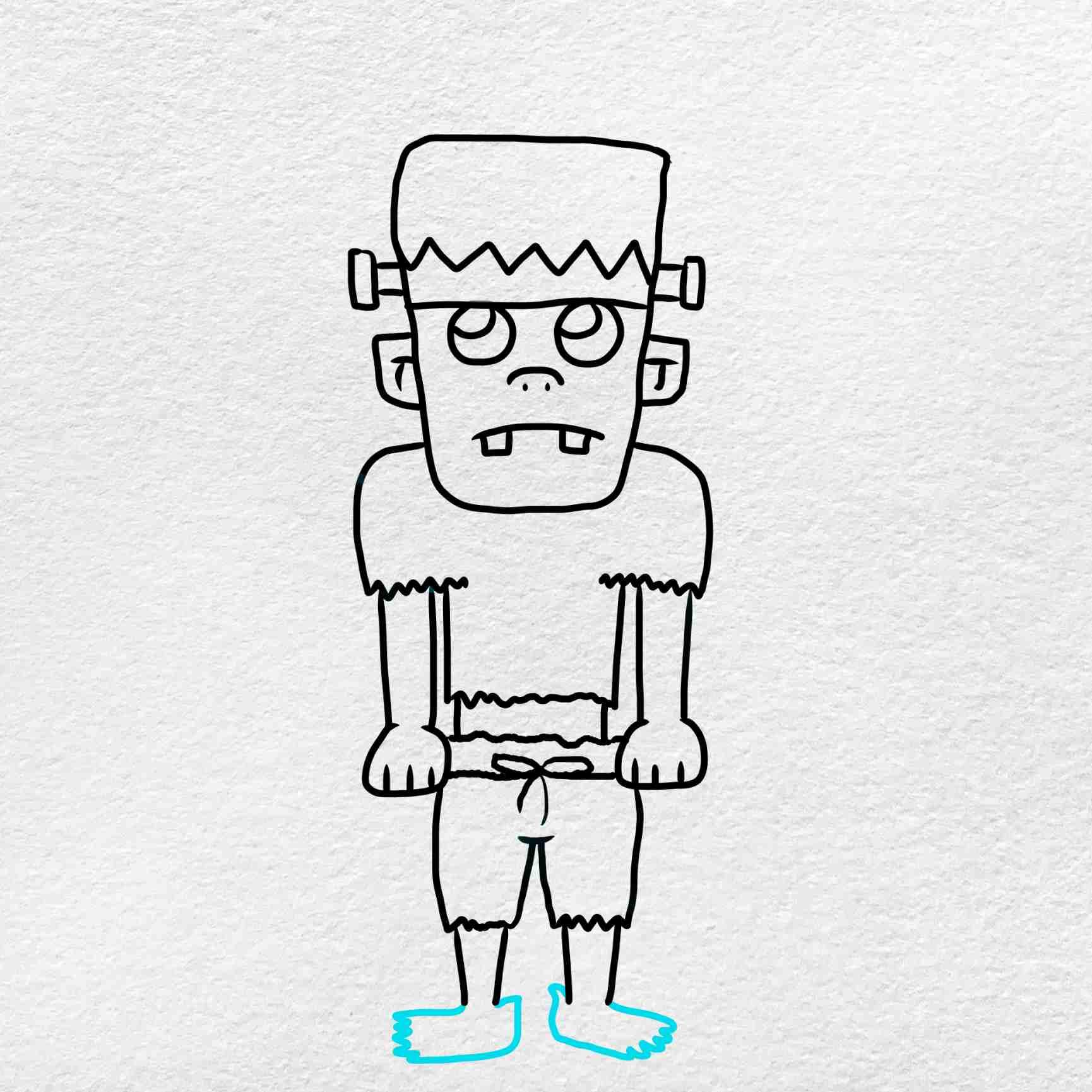 Easy Frankenstein Drawing: Step 8