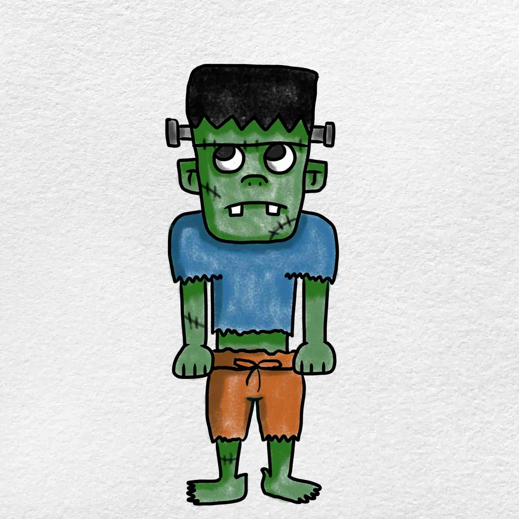 Easy Frankenstein Drawing: Step 9