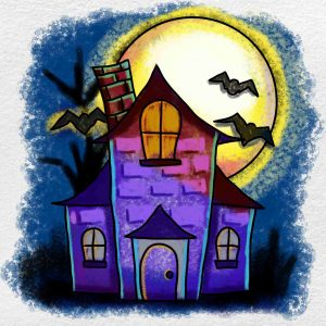 Easy Haunted House Drawing: Step 6