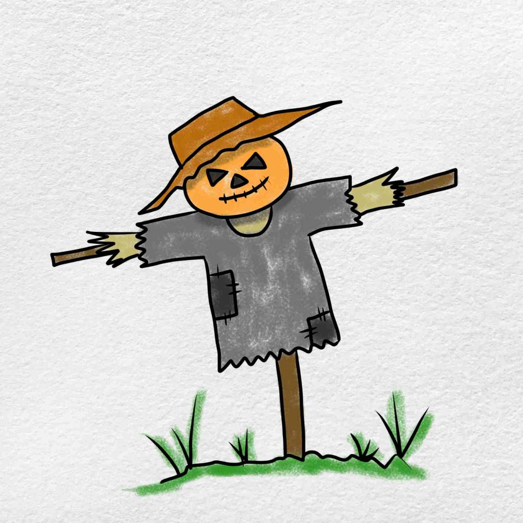 Easy Scarecrow Drawing: Step 6
