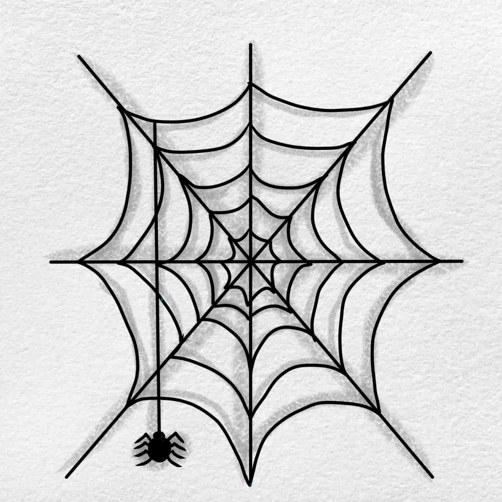 Easy Spider Web Drawing: Step 6