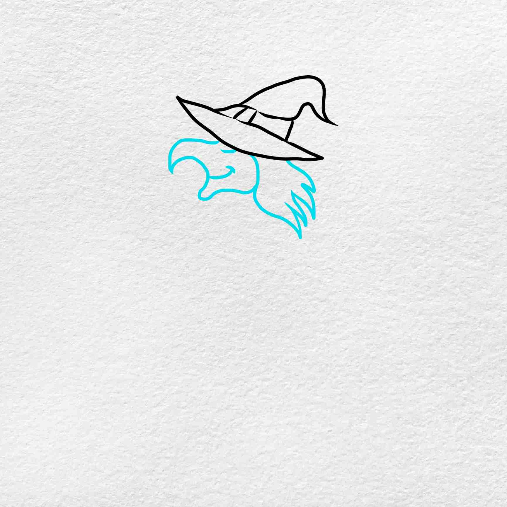 Easy Witch Drawing: Step 2
