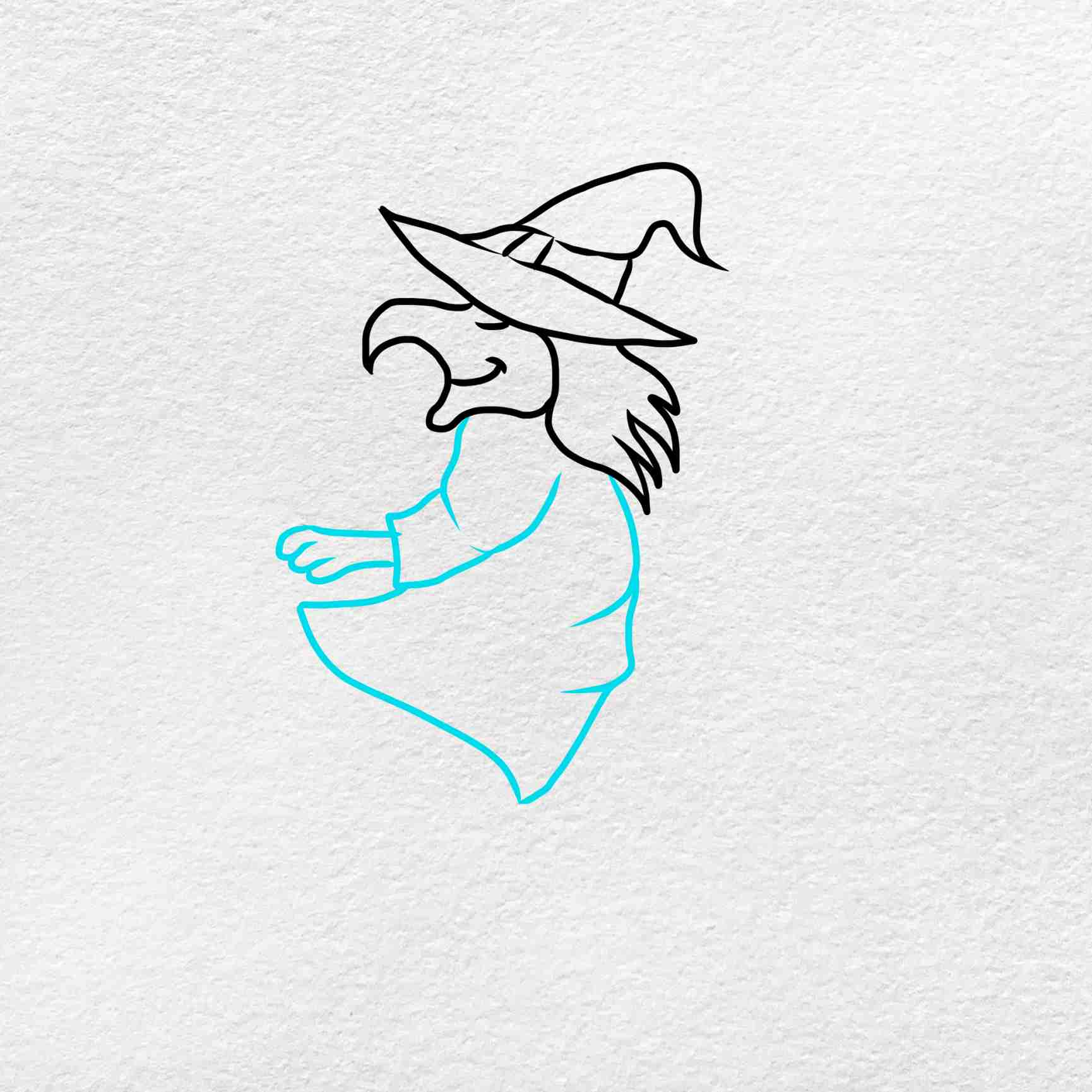 Easy Witch Drawing: Step 3