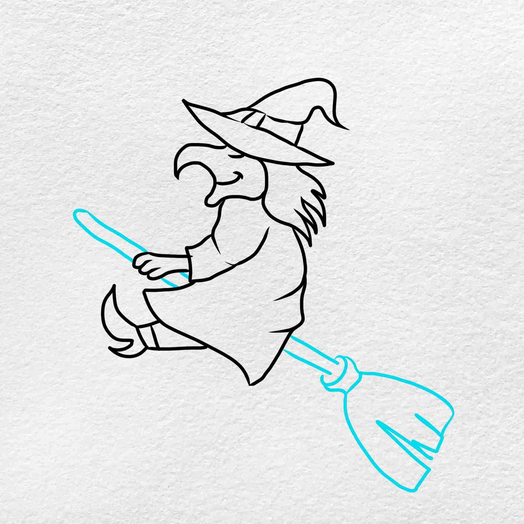 Easy Witch Drawing: Step 5