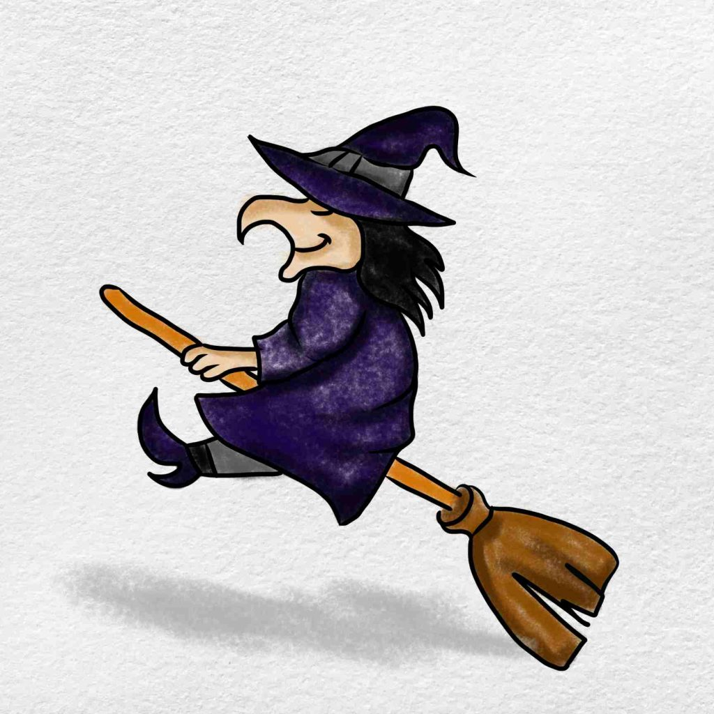 Easy Witch Drawing: Step 6