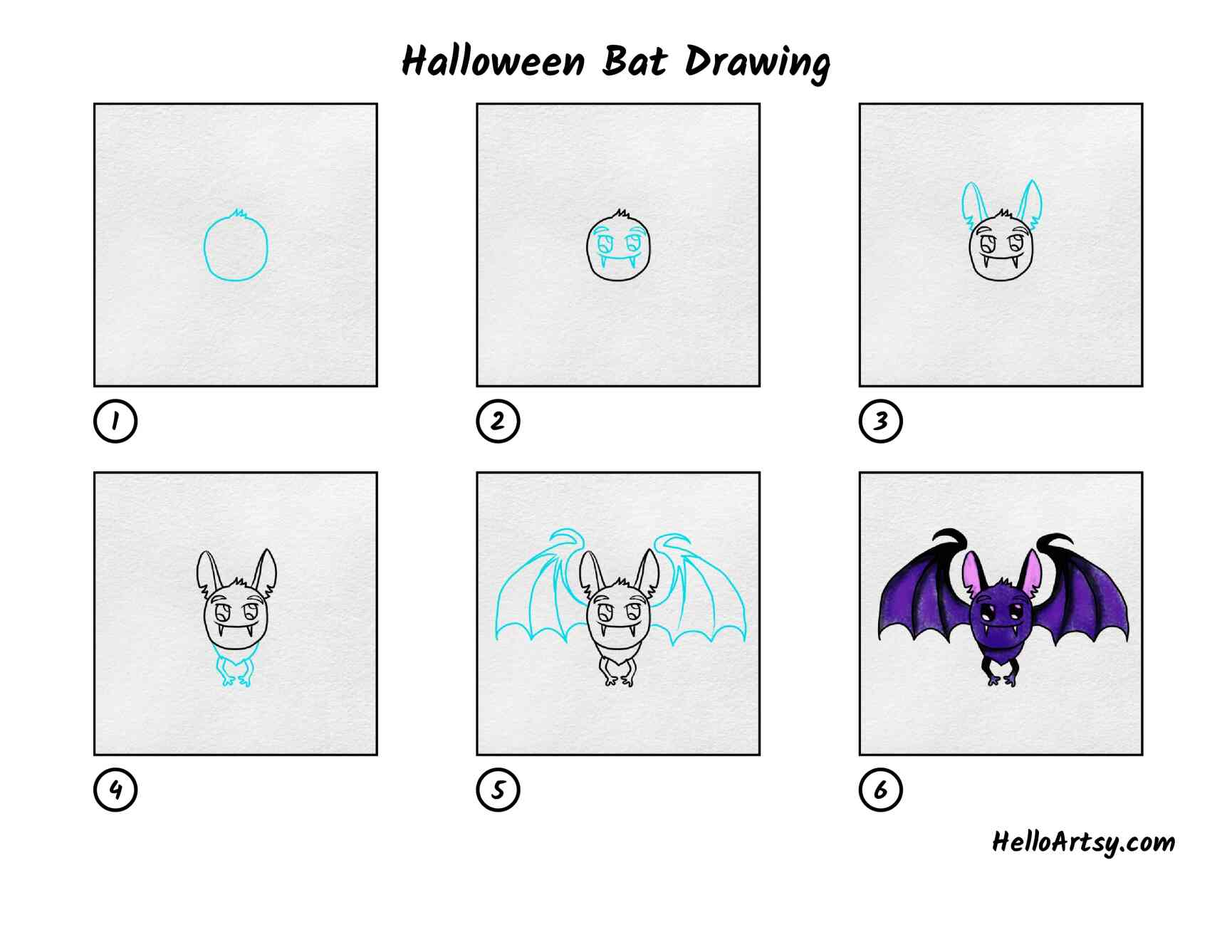 Halloween Bat Drawing: All Steps