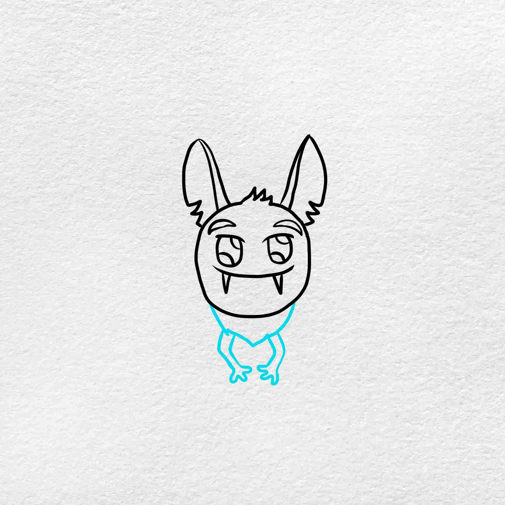 Halloween Bat Drawing: Step 4