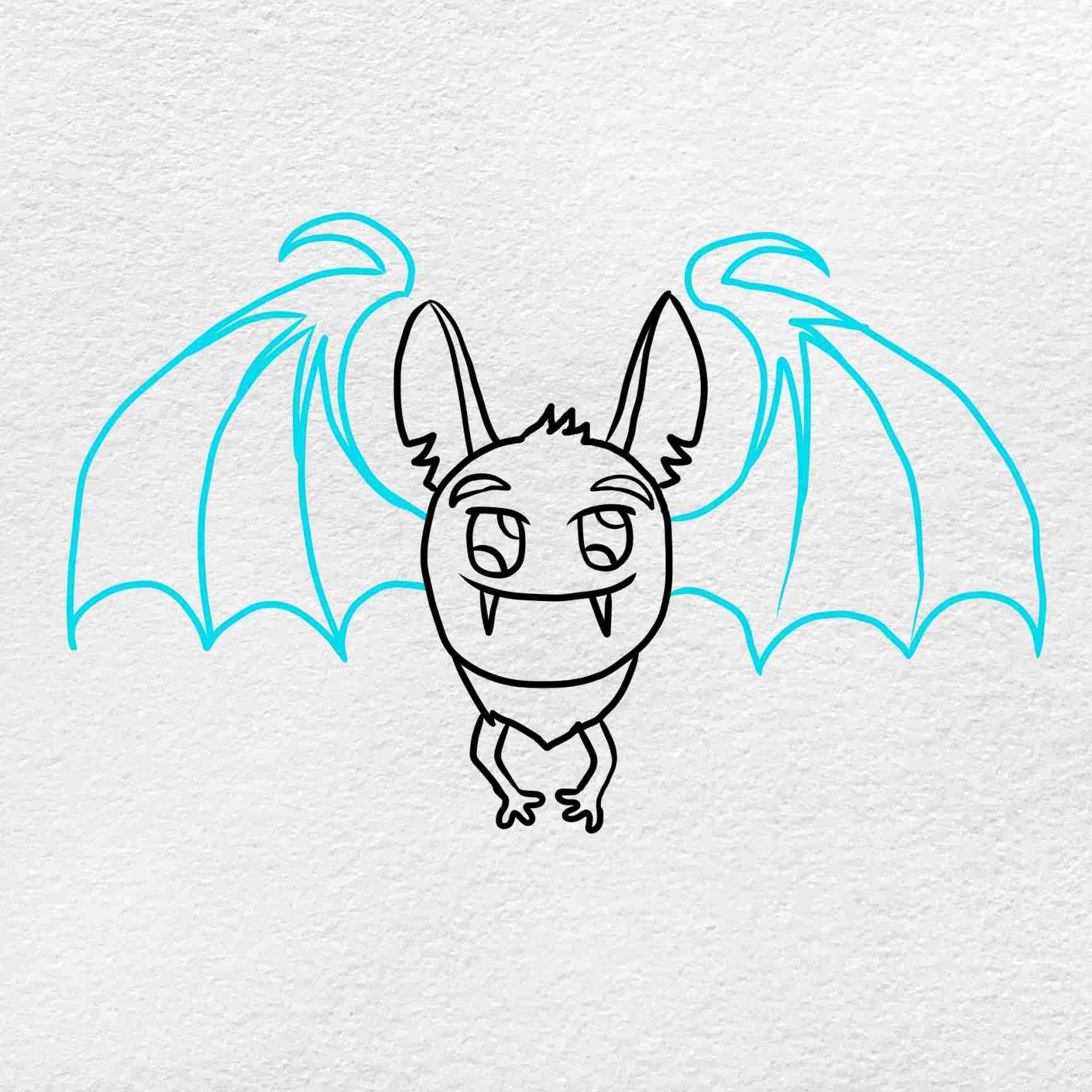 Halloween Bat Drawing: Step 5