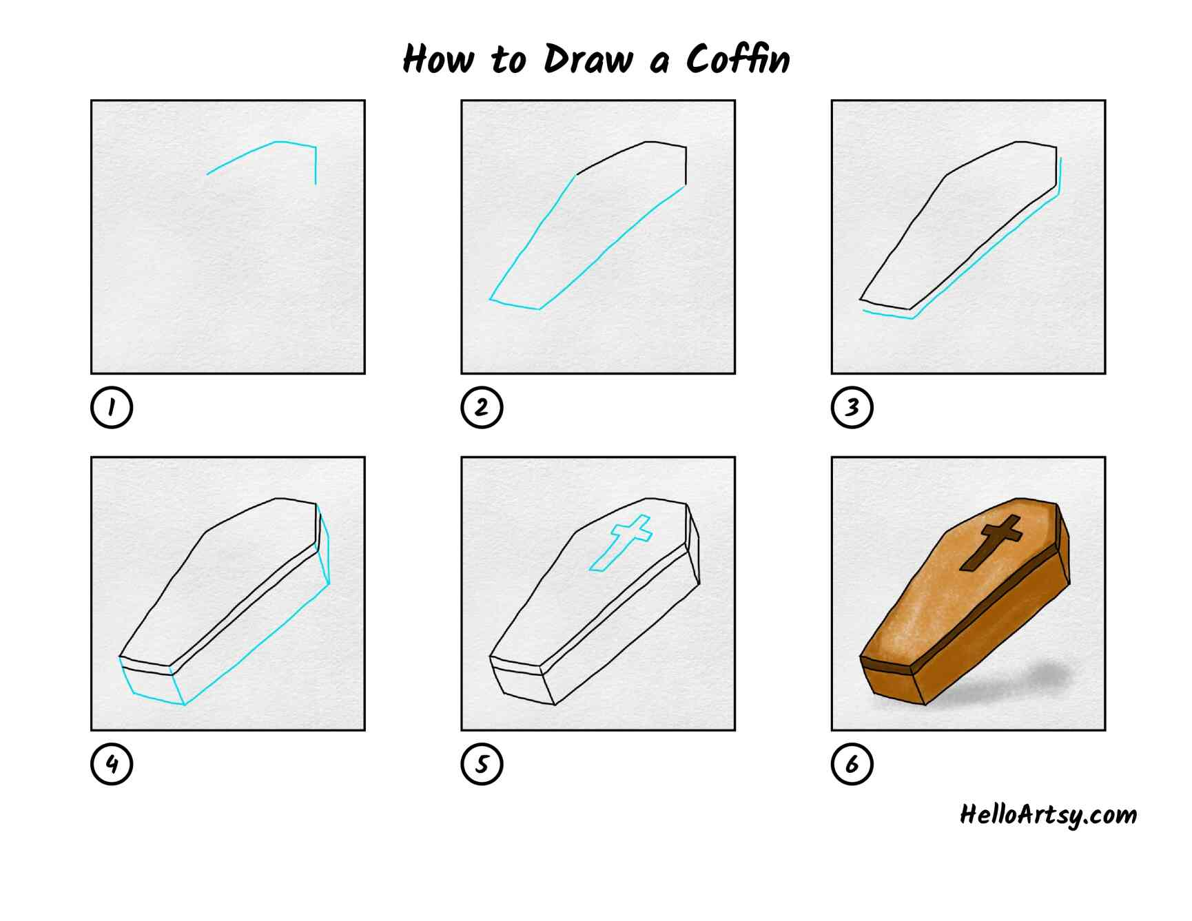 How To Draw A Coffin: All Steps