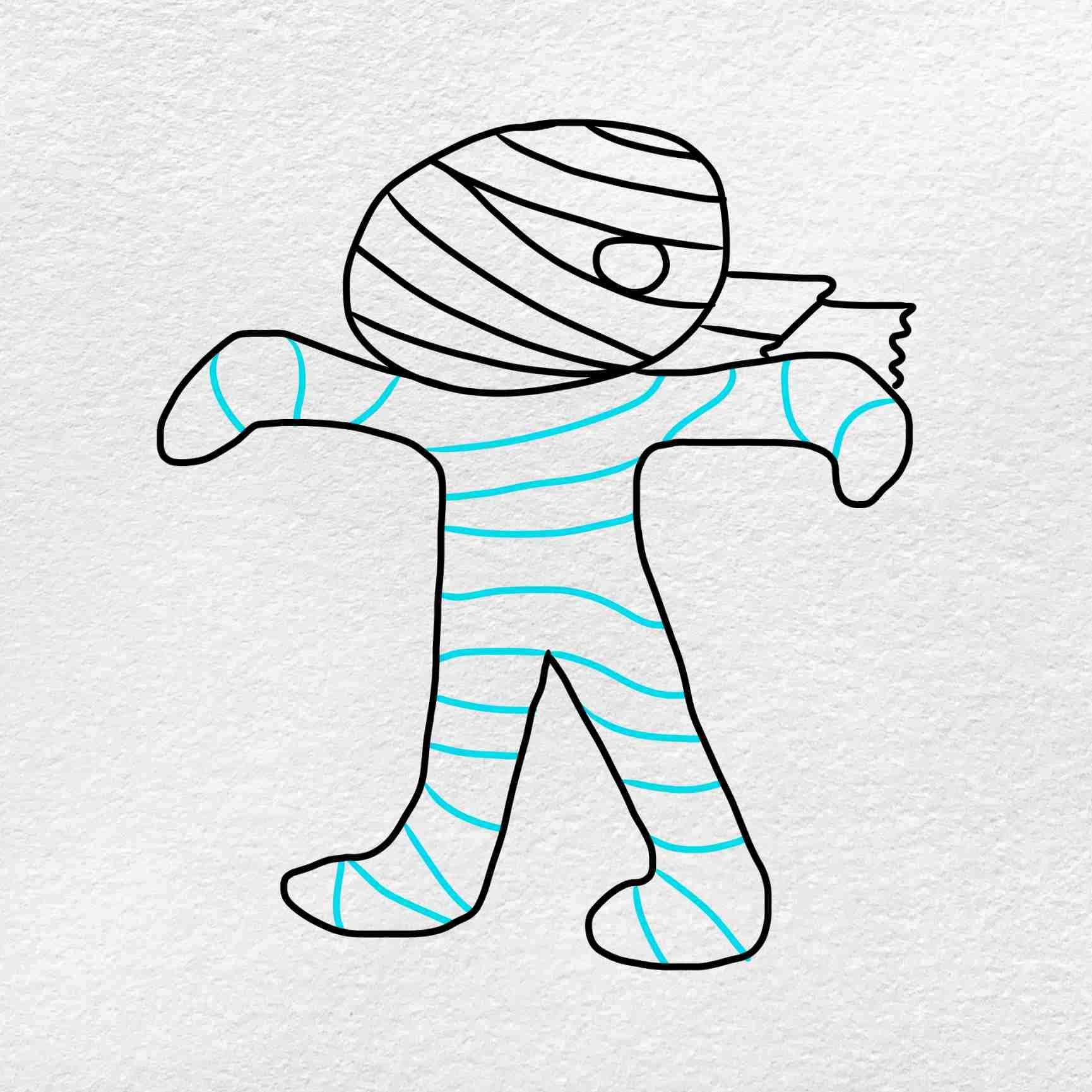 Mummy Drawing: Step 4