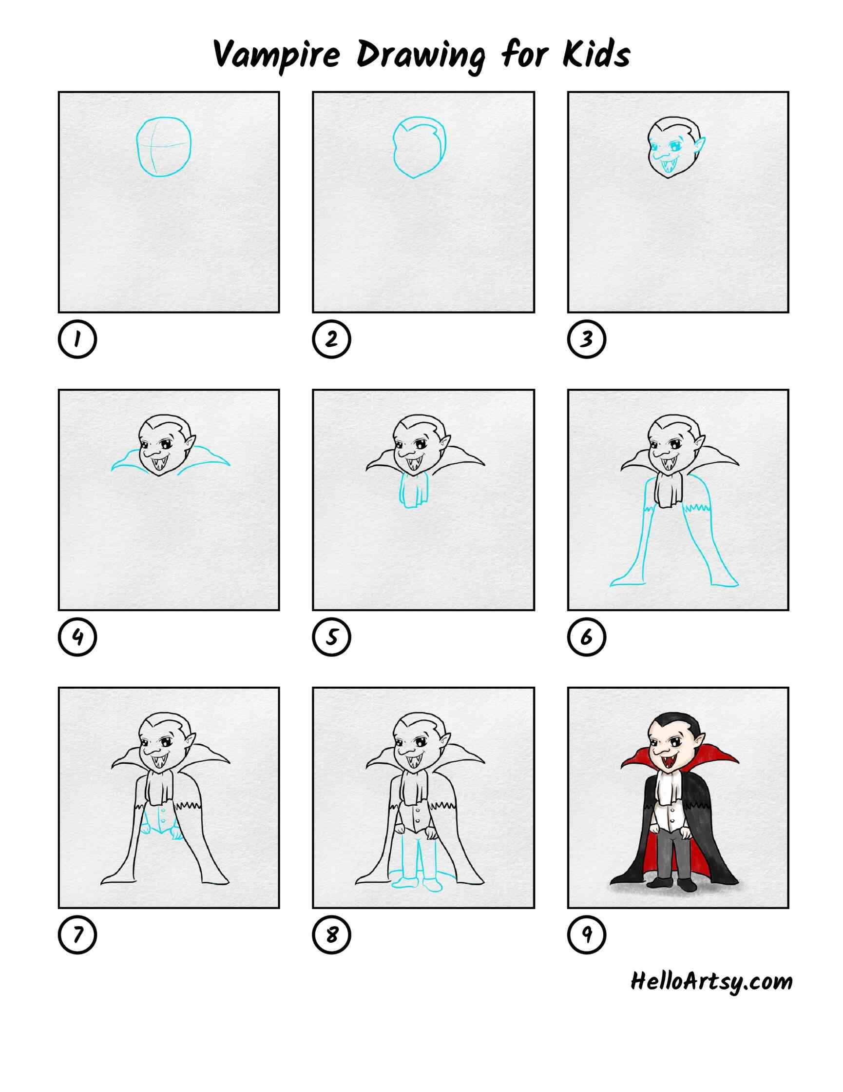 Vampire Drawing For Kids: All Steps
