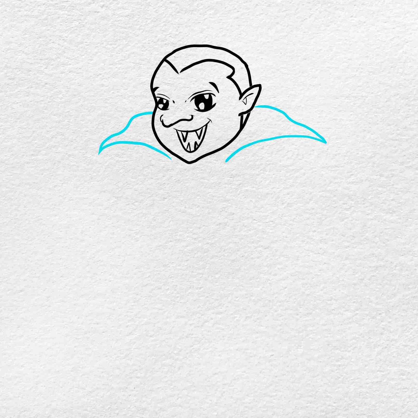 Vampire Drawing For Kids: Step 4