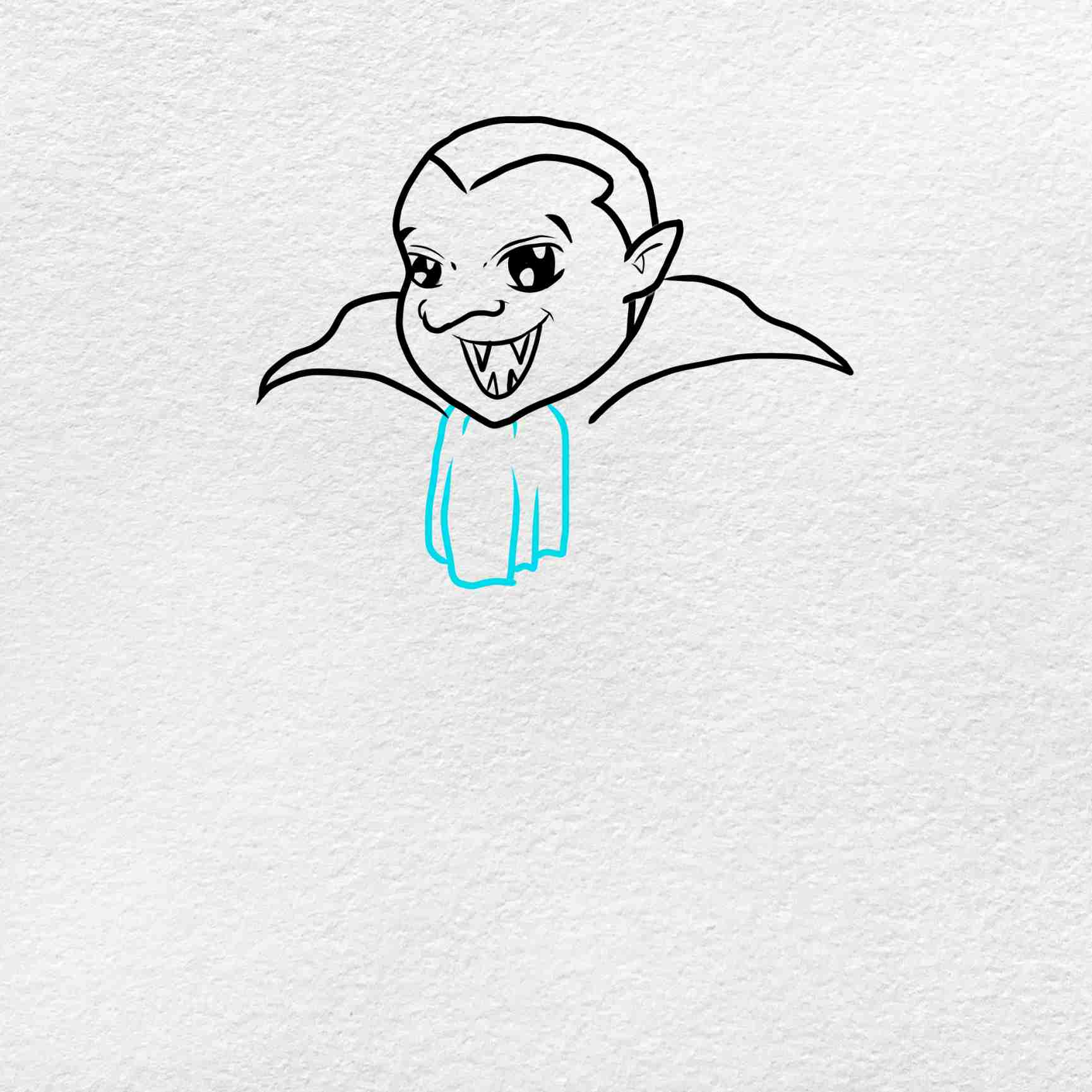Vampire Drawing For Kids: Step 5