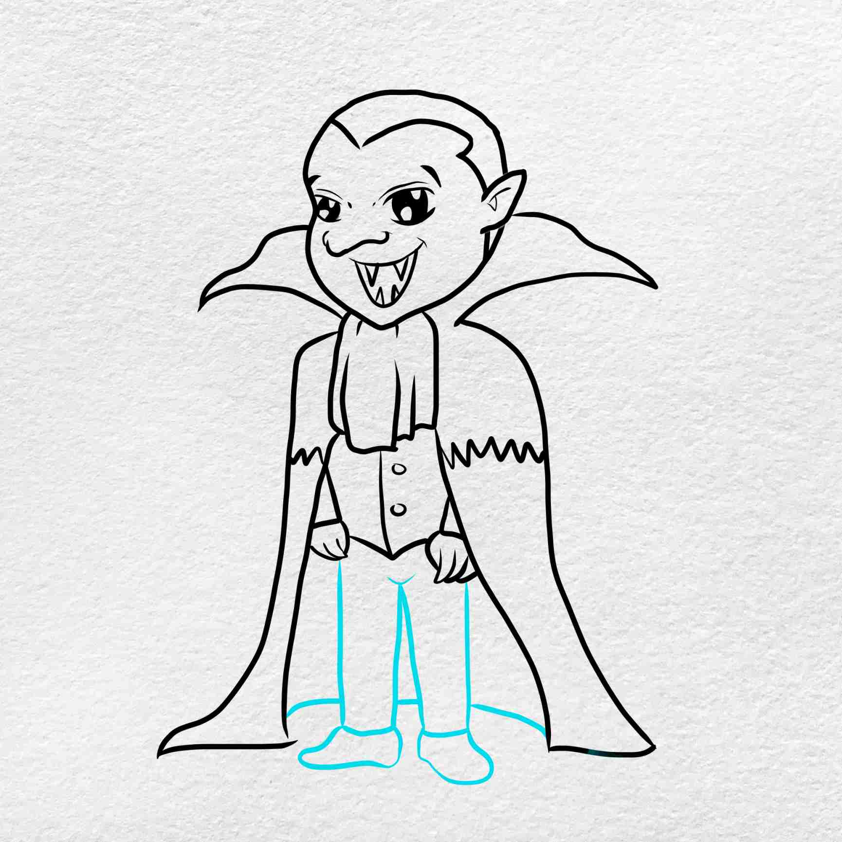 Vampire Drawing For Kids: Step 8