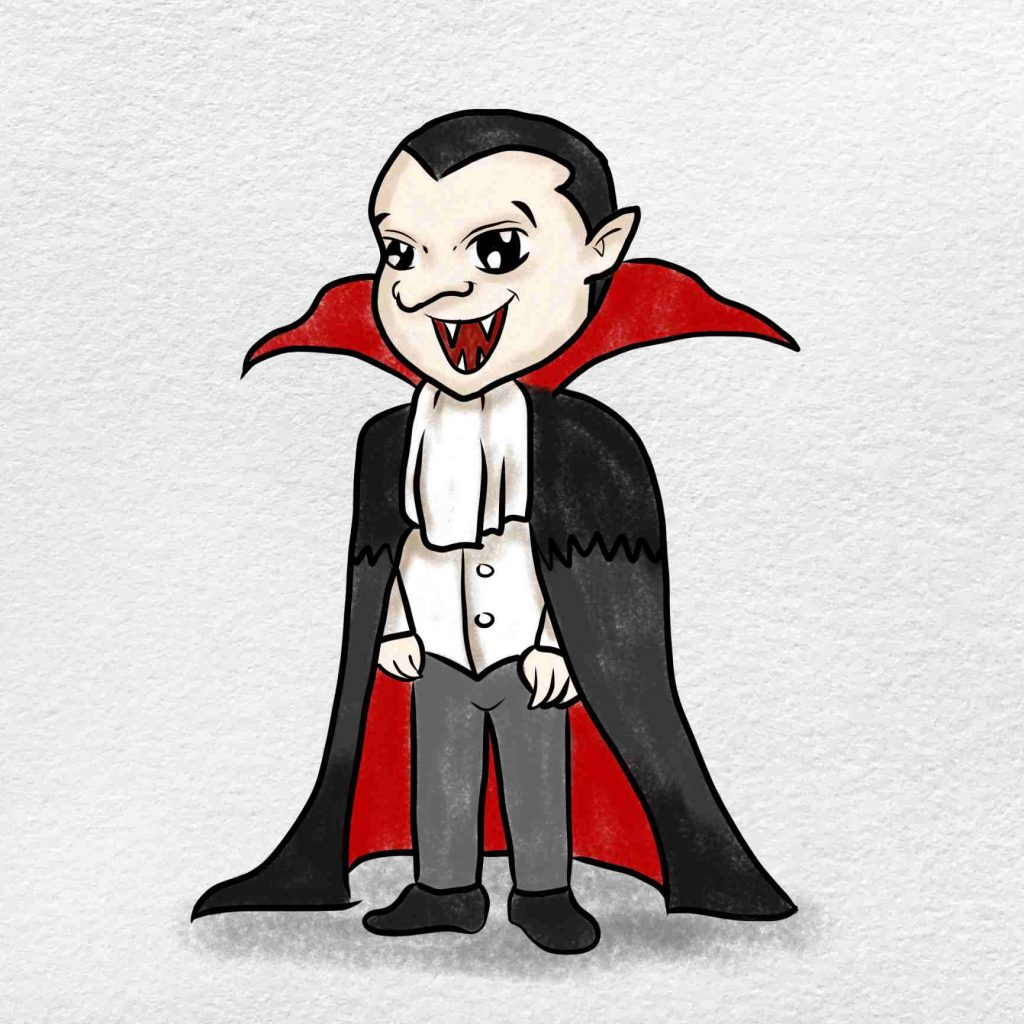 Vampire Drawing For Kids: Step 9