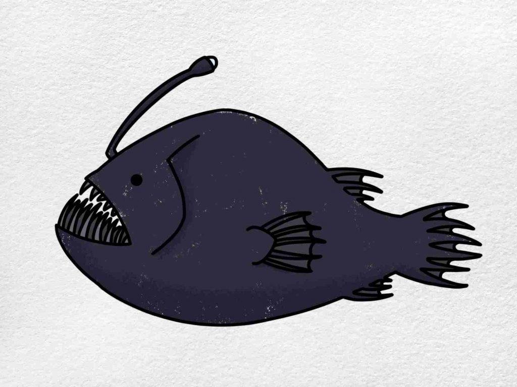 Angler Fish Drawing: Step 9