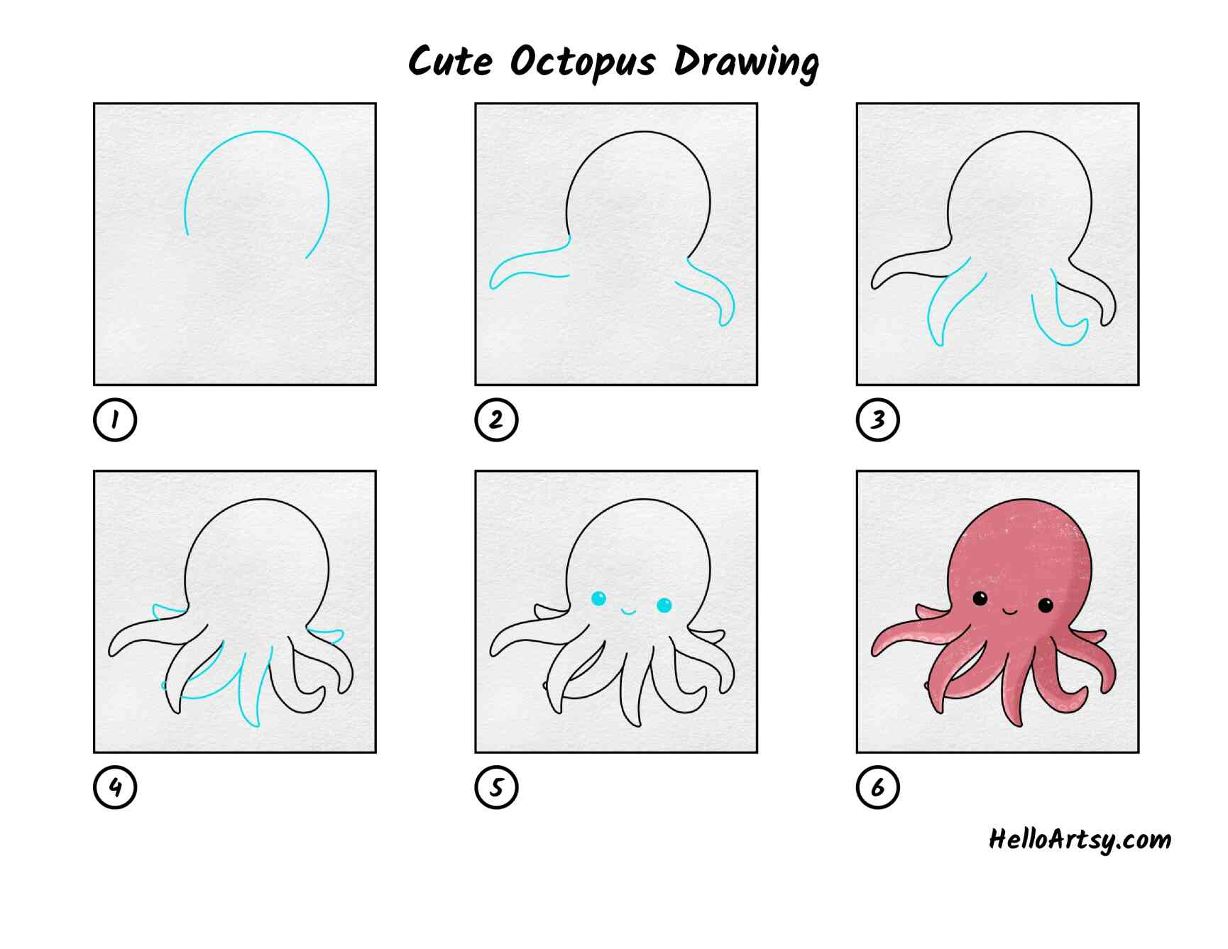 Cute Octopus Drawing: All Steps
