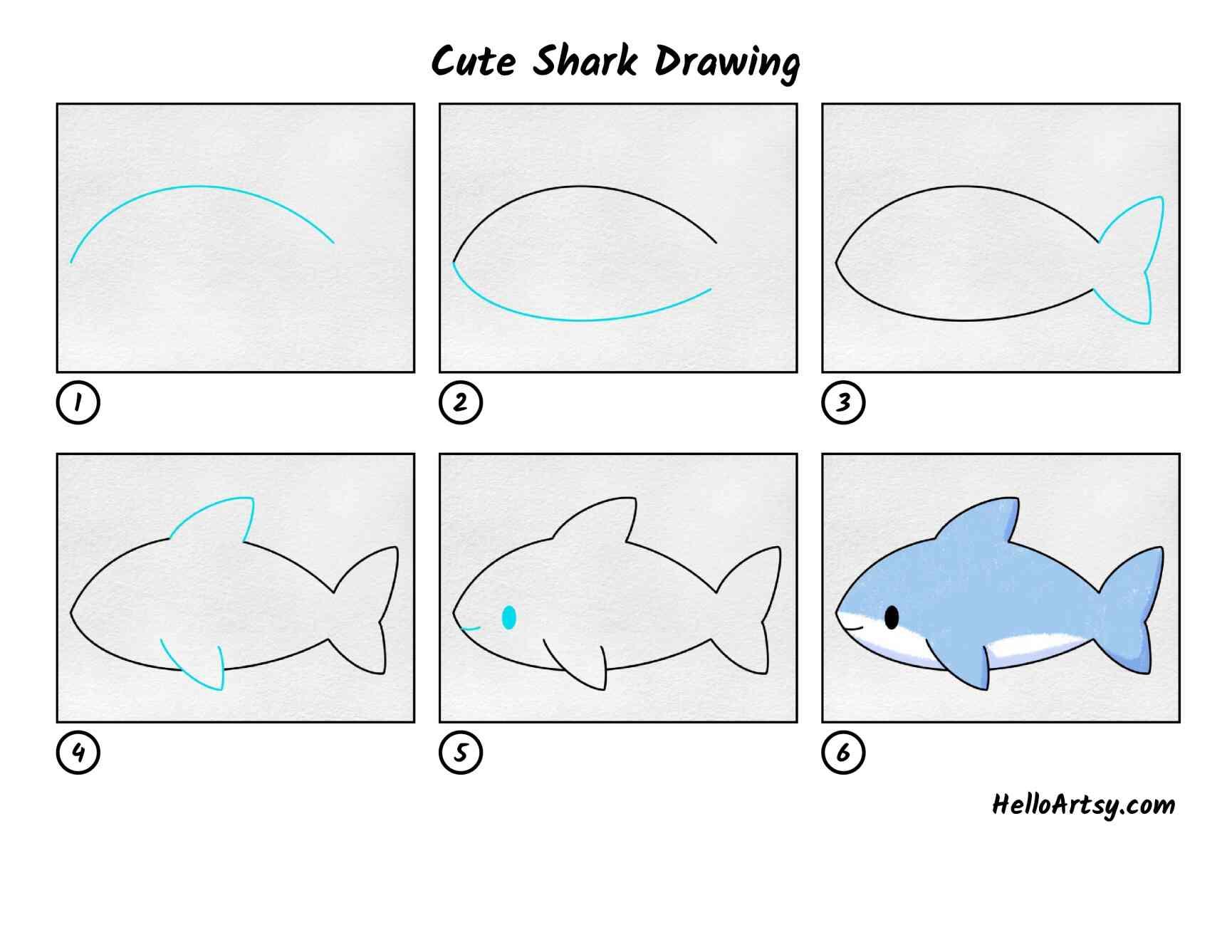 Cute Shark Drawing: All Steps